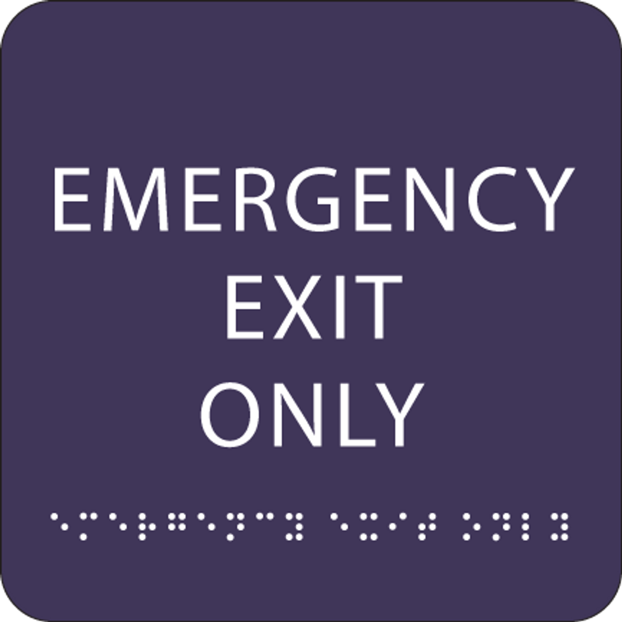 Purple Emergency Exit Only ADA Sign