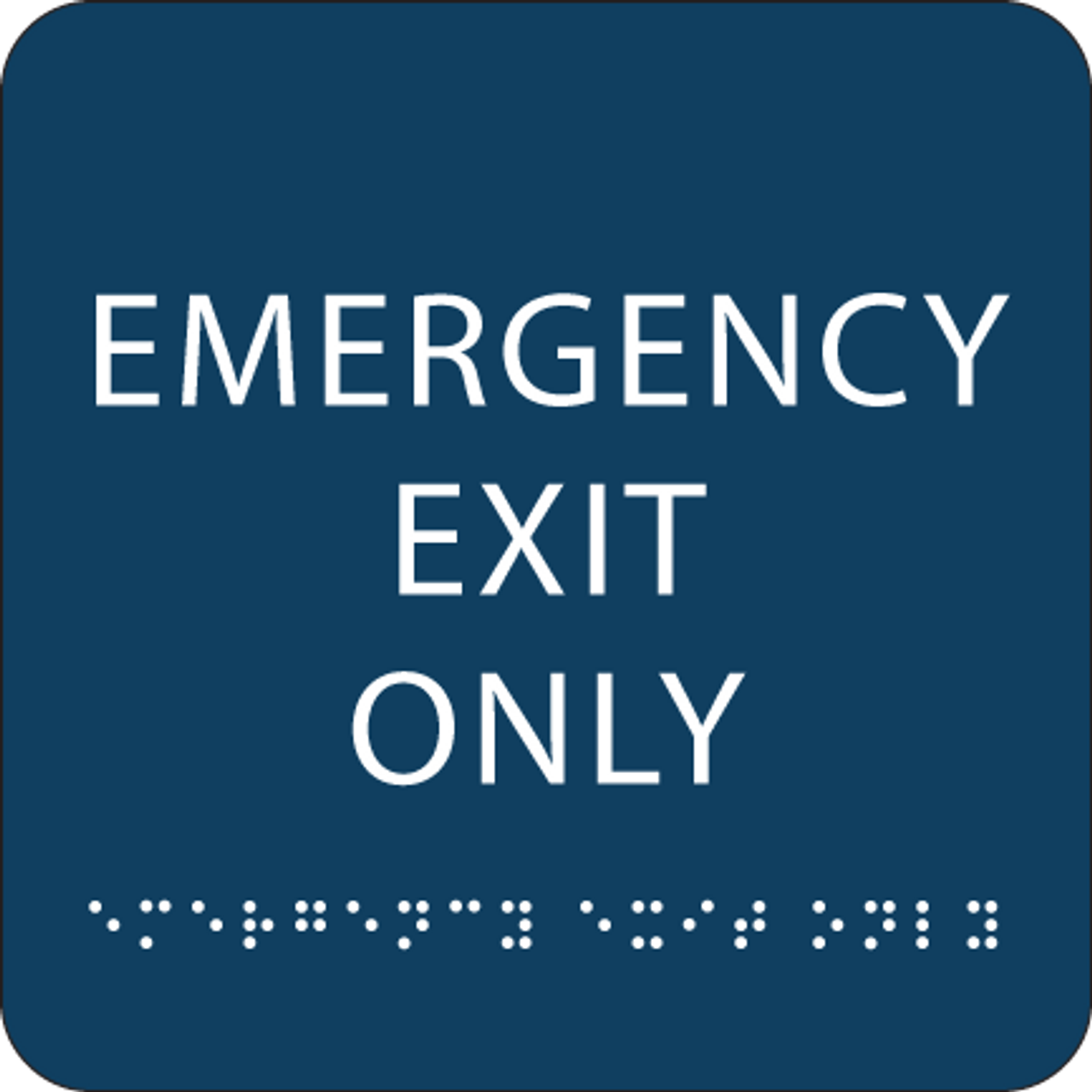 Dark Blue Emergency Exit Only ADA Sign
