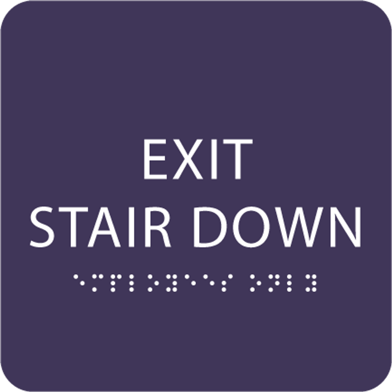 Purple Exit Stair Down ADA Sign