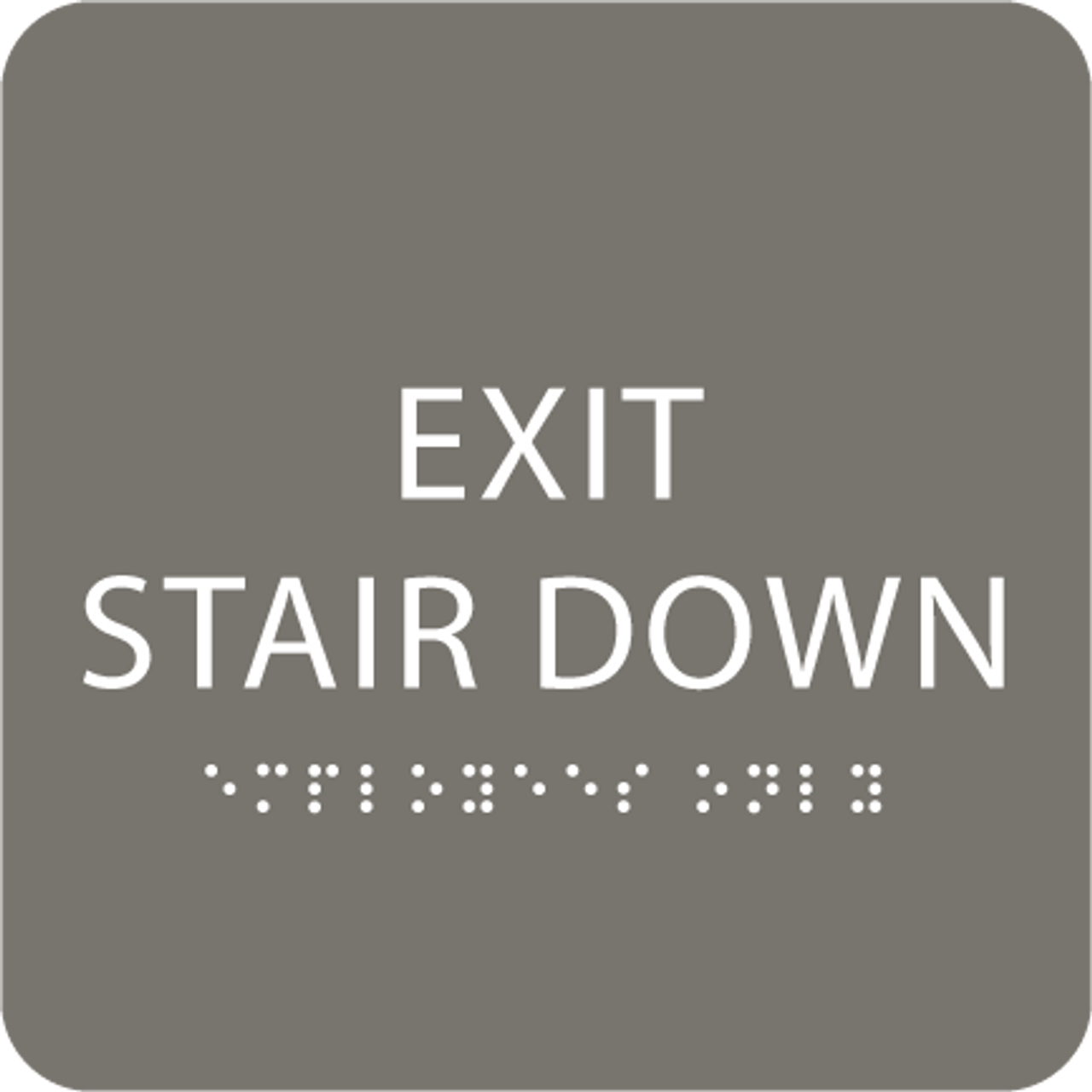 Dark Grey Exit Stair Down ADA Sign