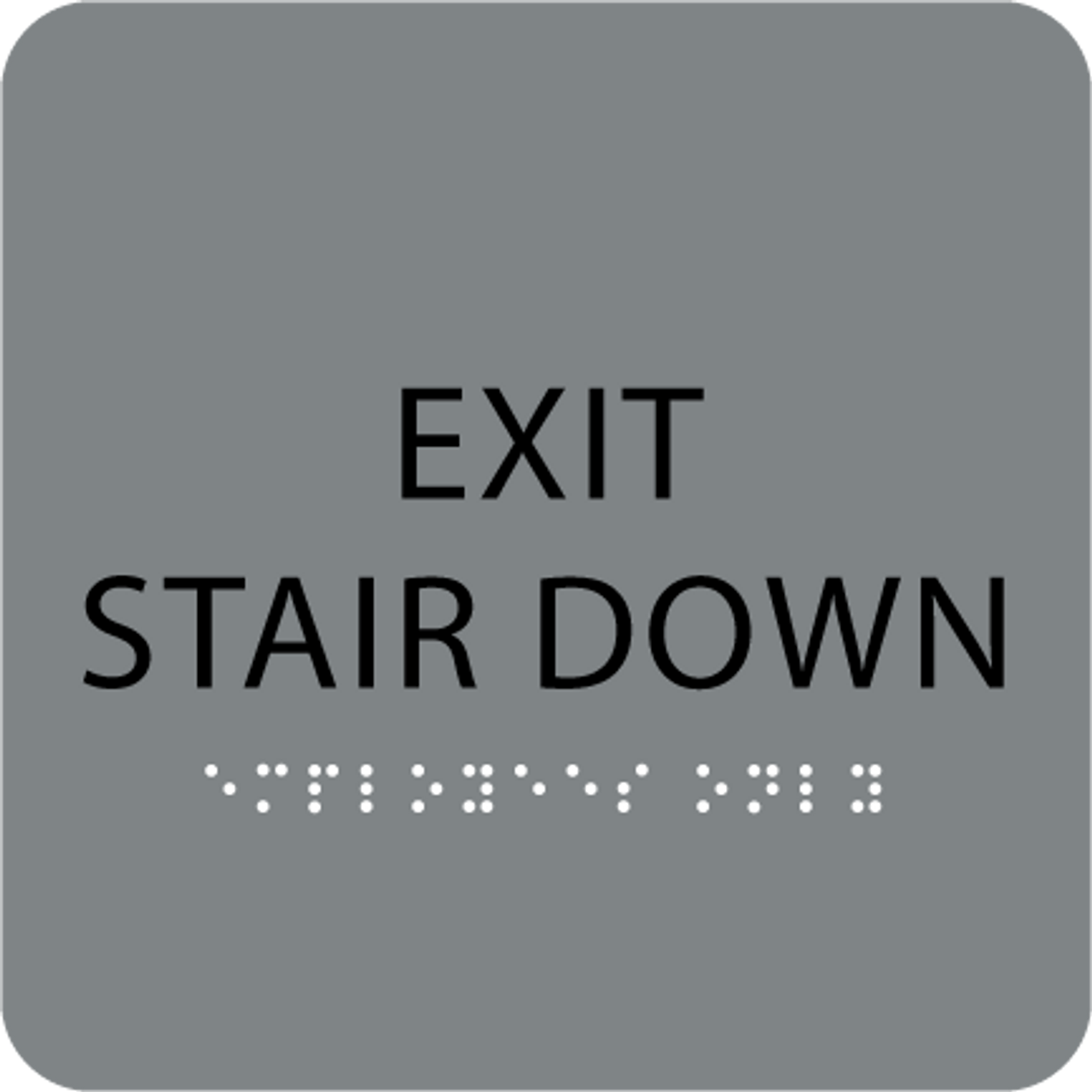 Grey Exit Stair Down ADA Sign