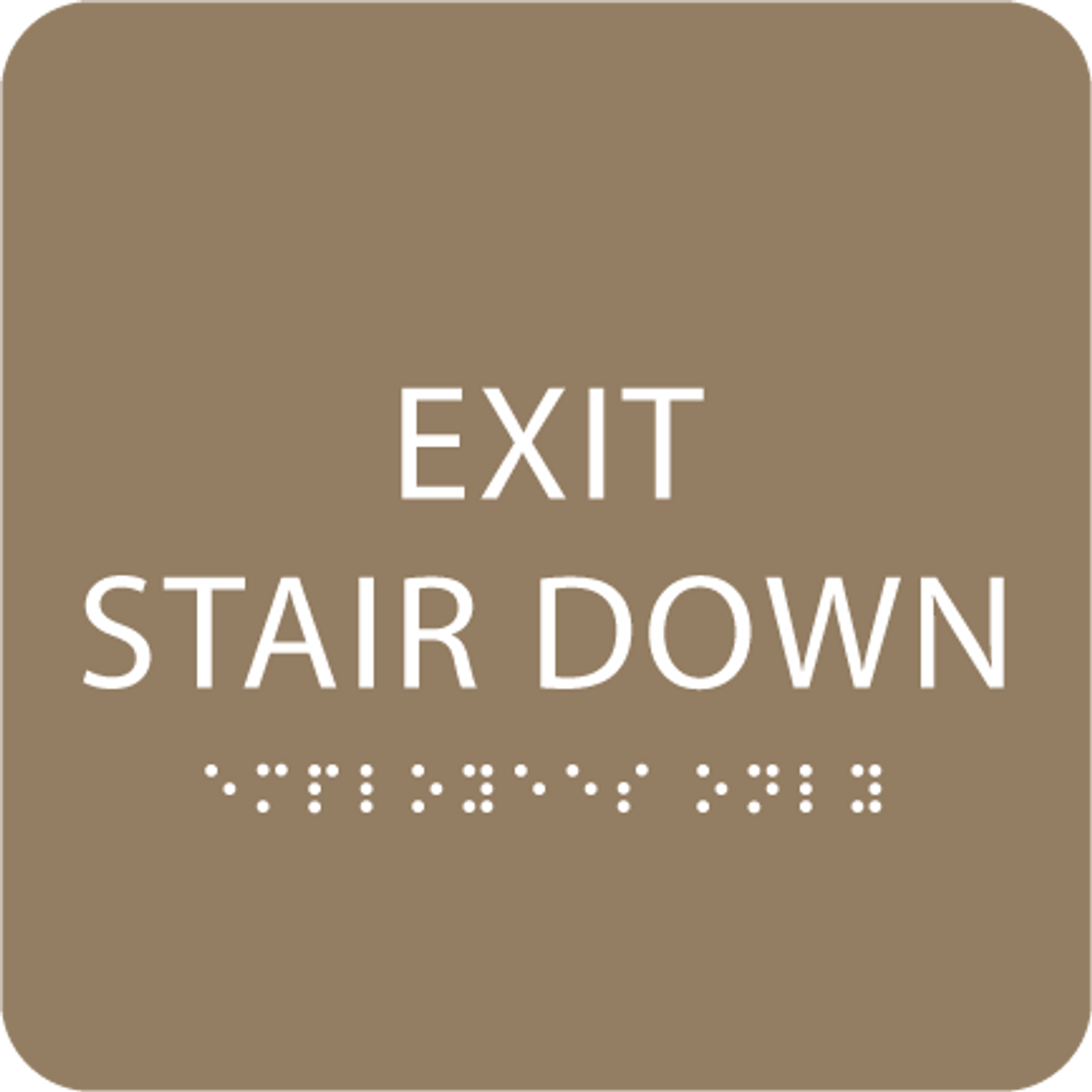 Beige Exit Stair Down ADA Sign