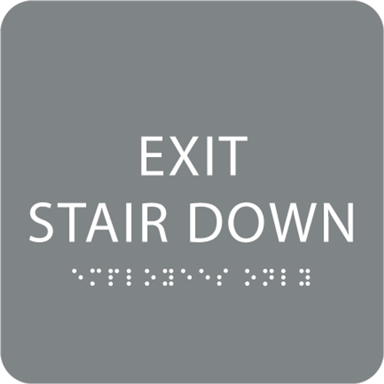 Grey Exit Stair Down Braille Sign