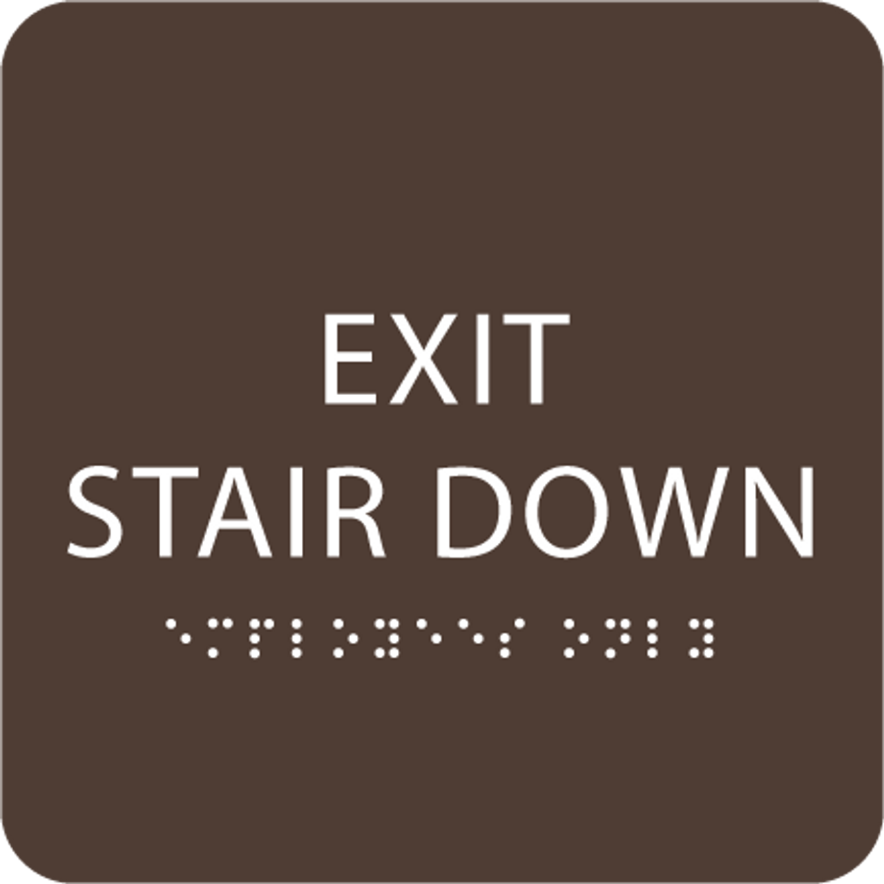 Dark Brown Exit Stair Down ADA Sign