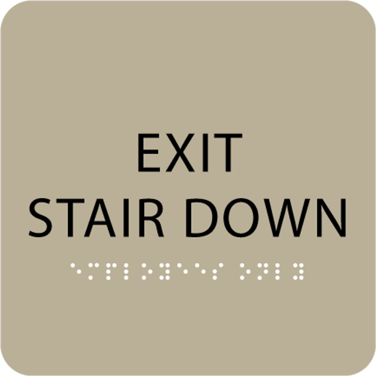 Brown Exit Stair Down Tactile Sign