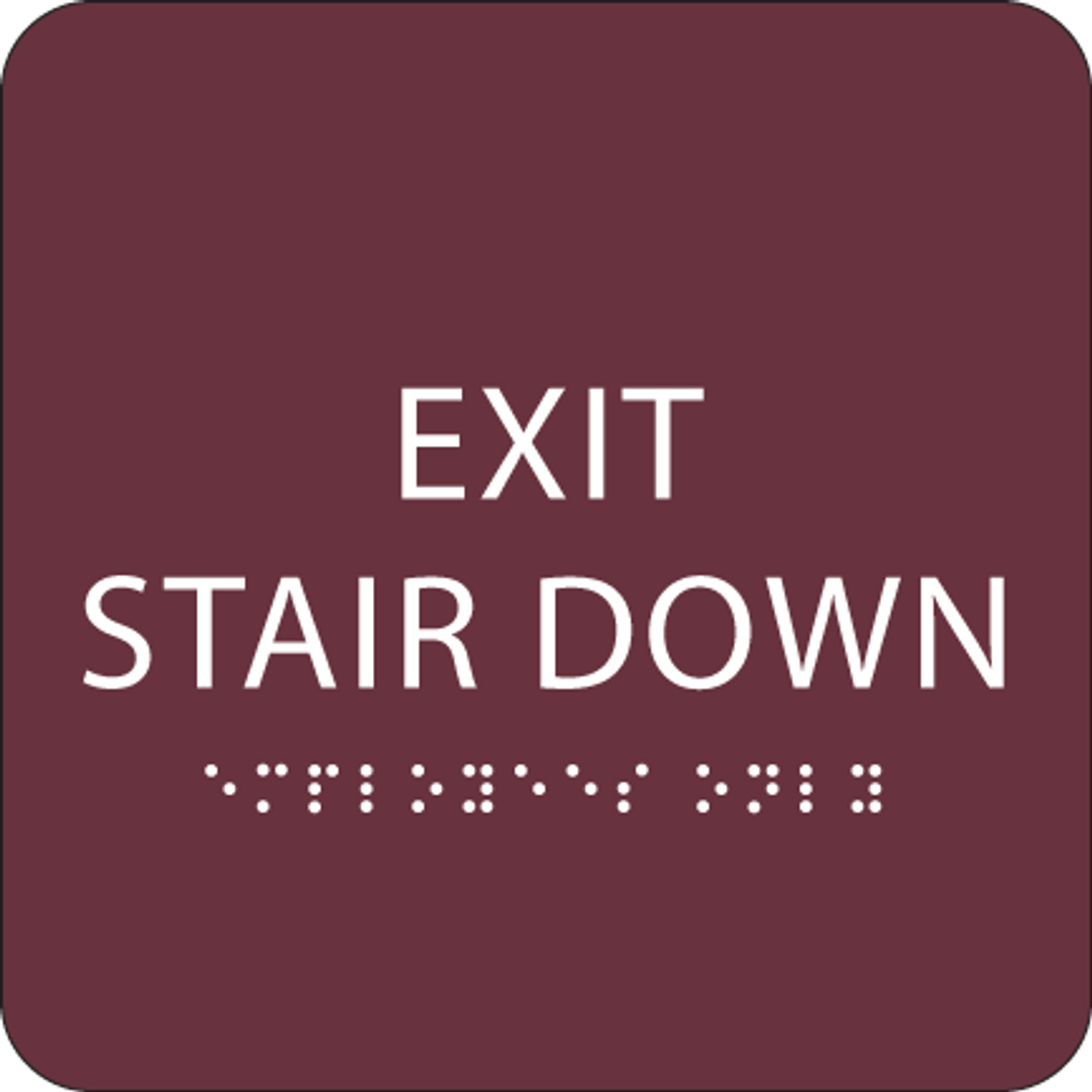 Burgundy Exit Stair Down ADA Sign