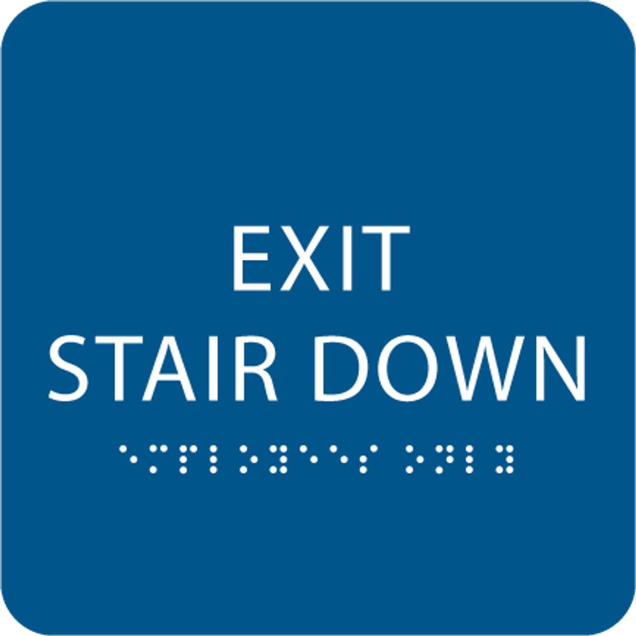 Blue Exit Stair Down ADA Sign