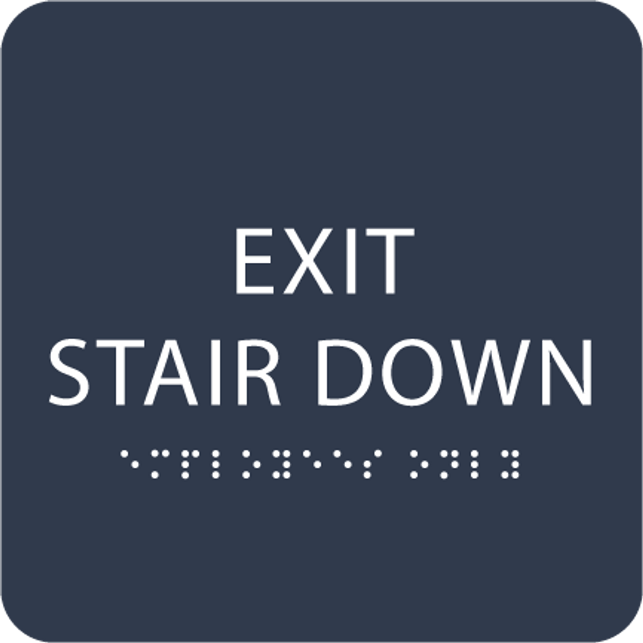 Navy Exit Stair Down ADA Sign