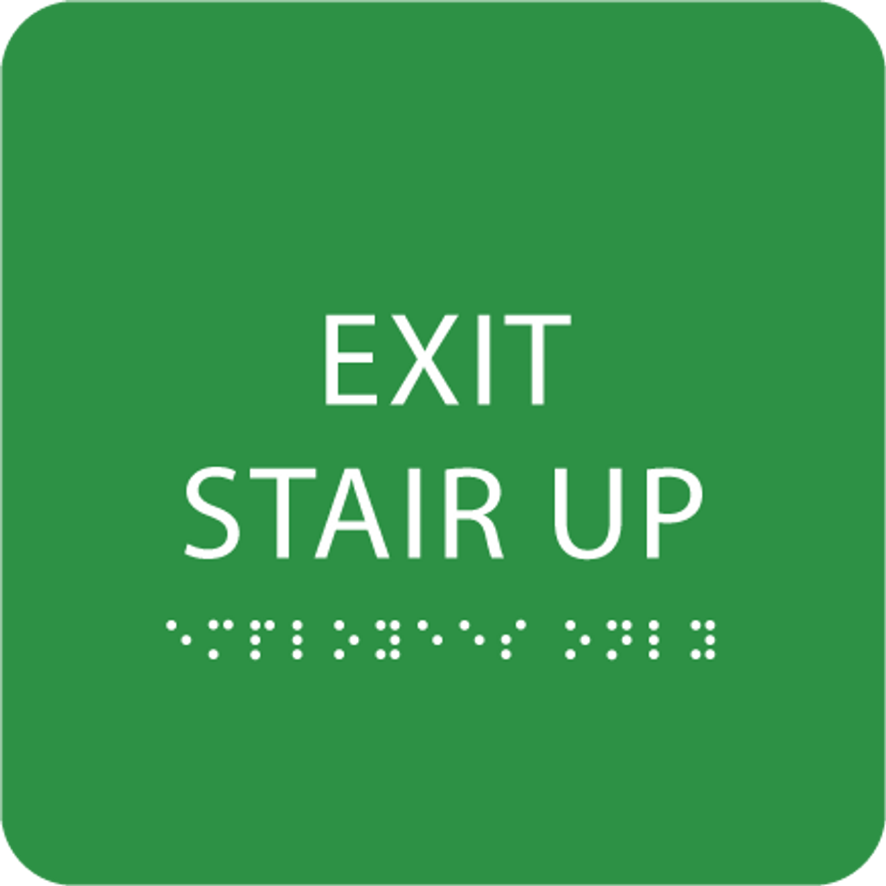 Green Exit Stair Up ADA Sign