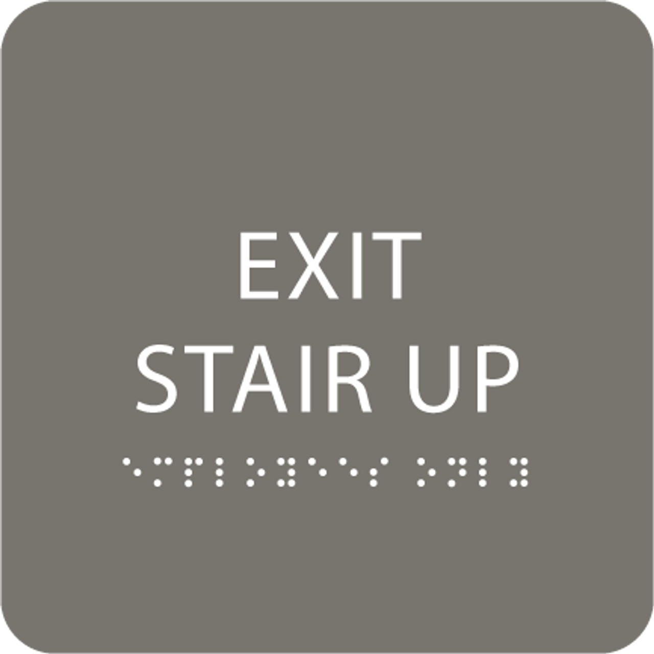 Dark Grey Exit Stair Up ADA Sign