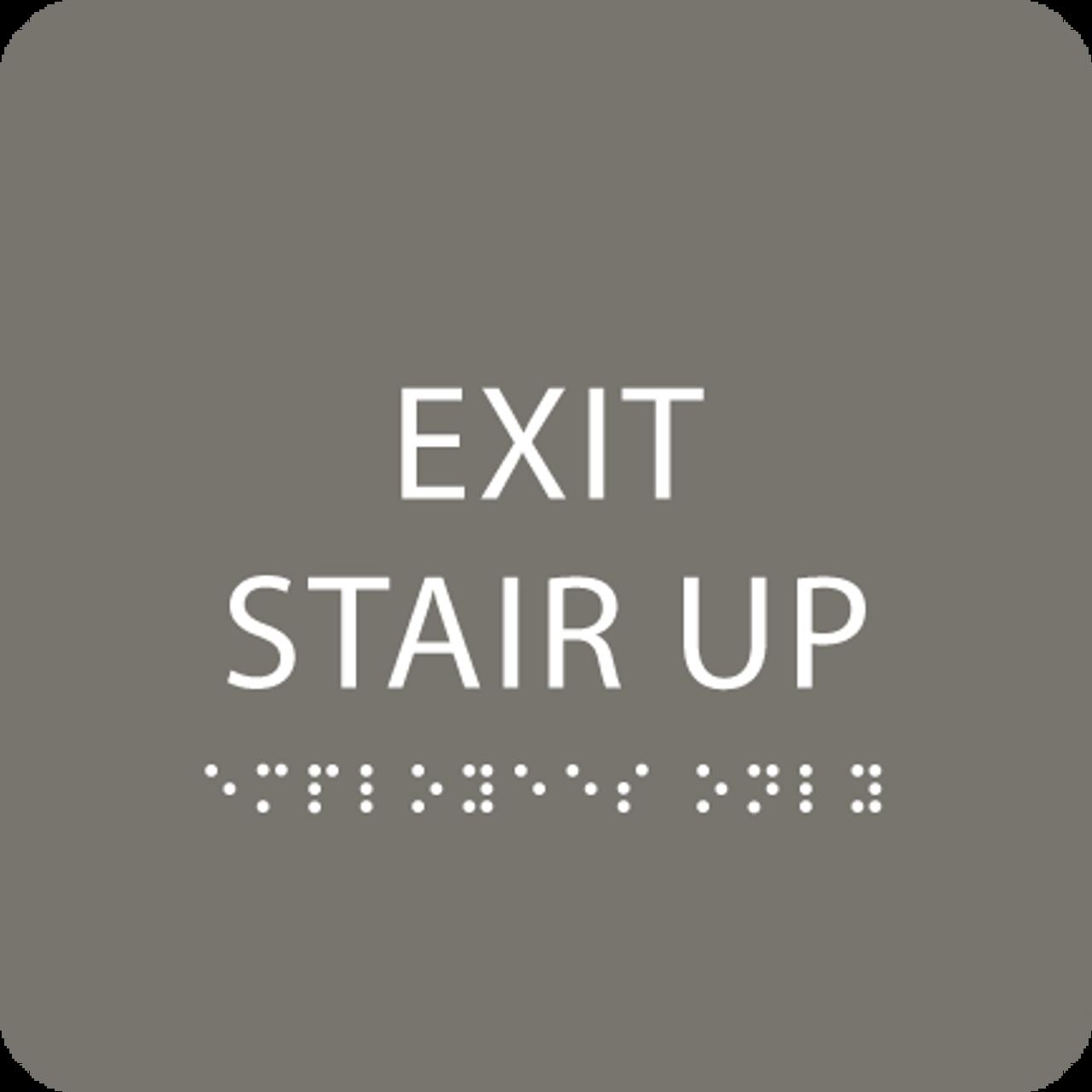 Dark Grey Exit Stair Up ADA Sign