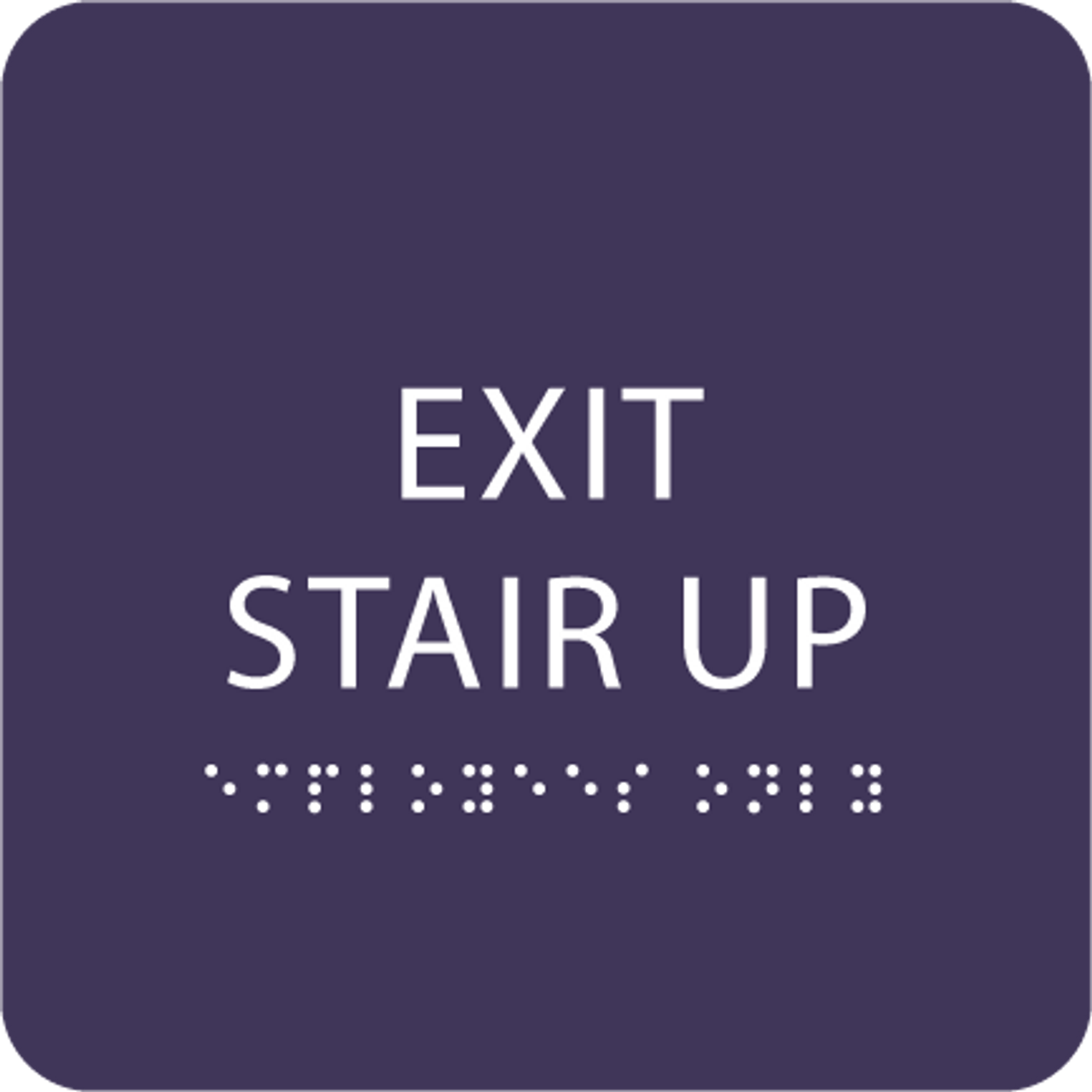 Purple Exit Stair Up ADA Sign