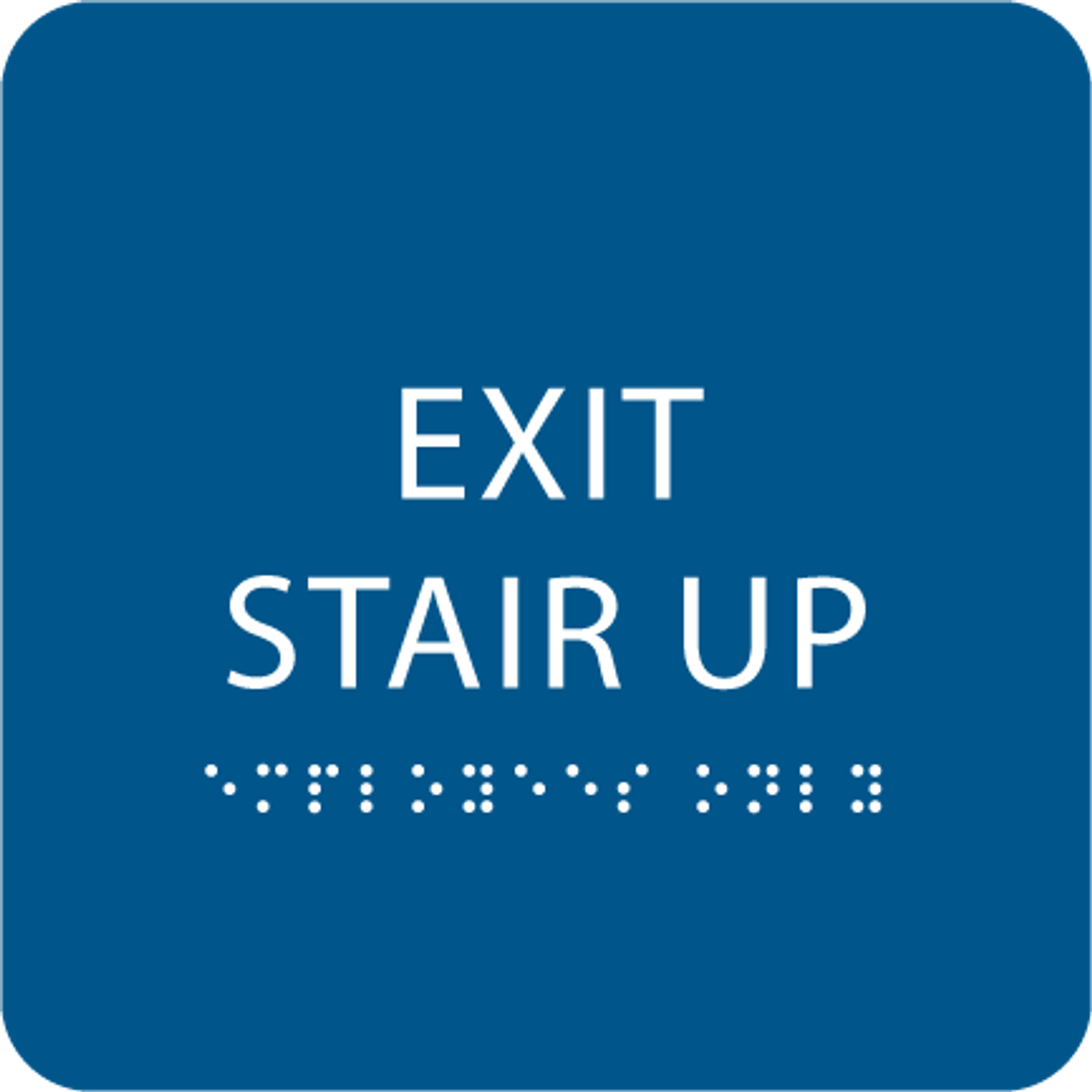 Blue Exit Stair Up ADA Sign