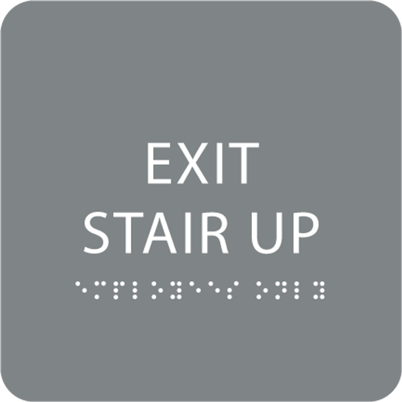 Grey Exit Stair Up ADA Sign