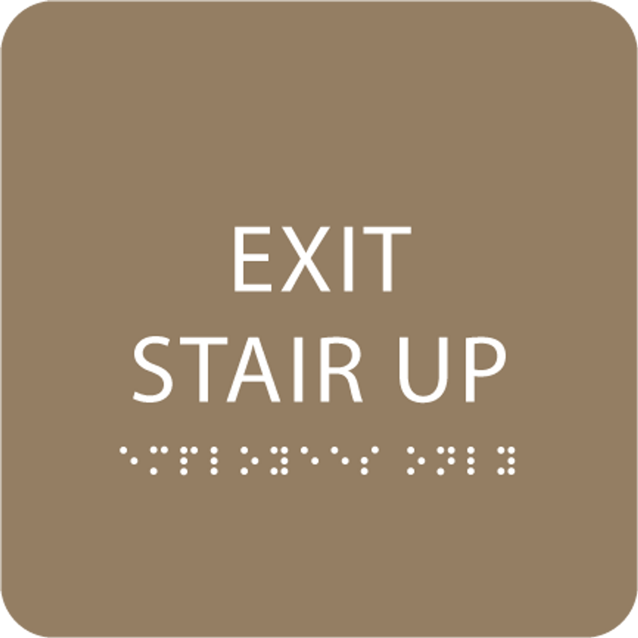 Brown Exit Stair Up ADA Sign