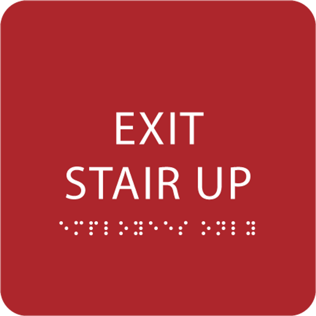 Red Exit Stair Up ADA Sign