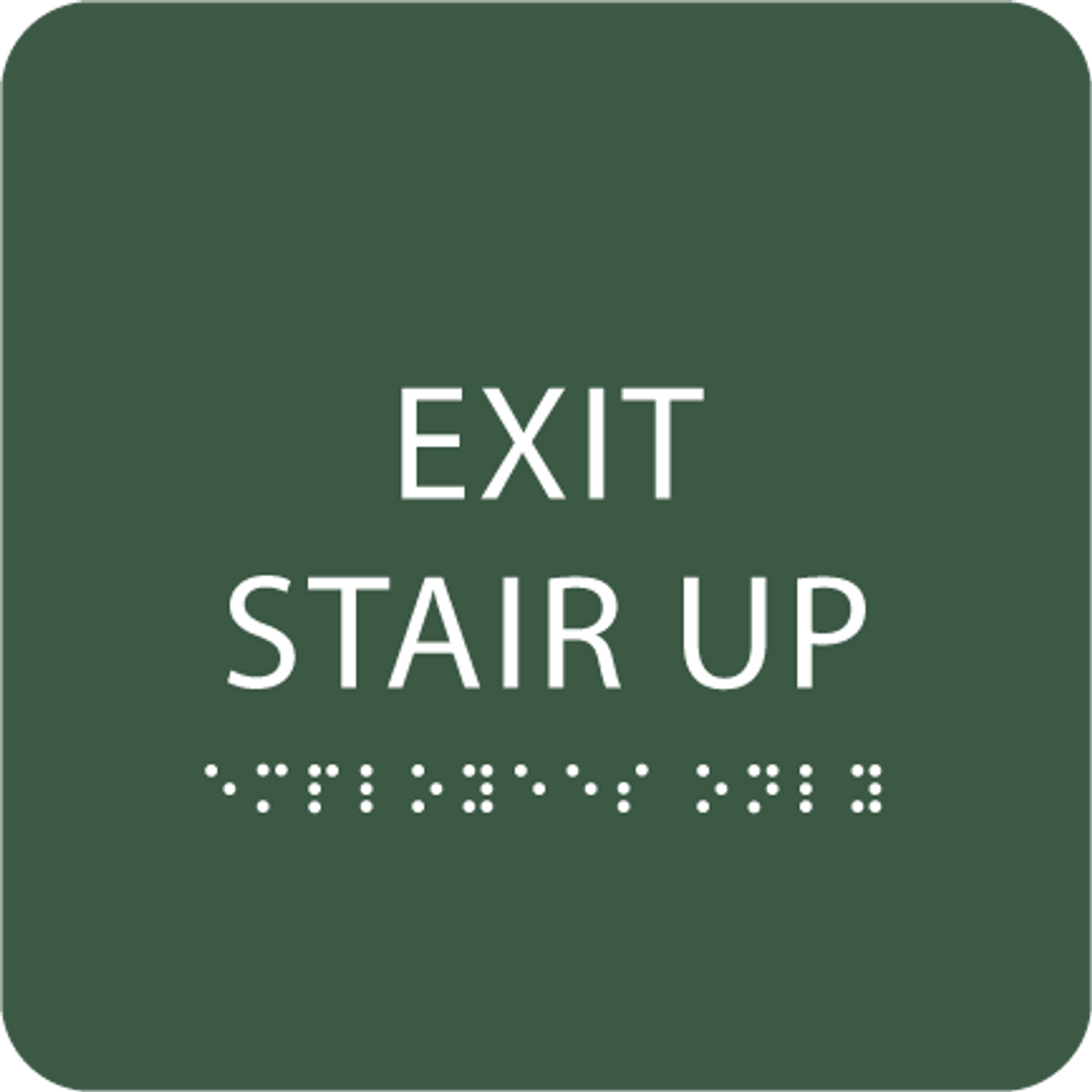 Green Exit Stair Up Tactile Sign