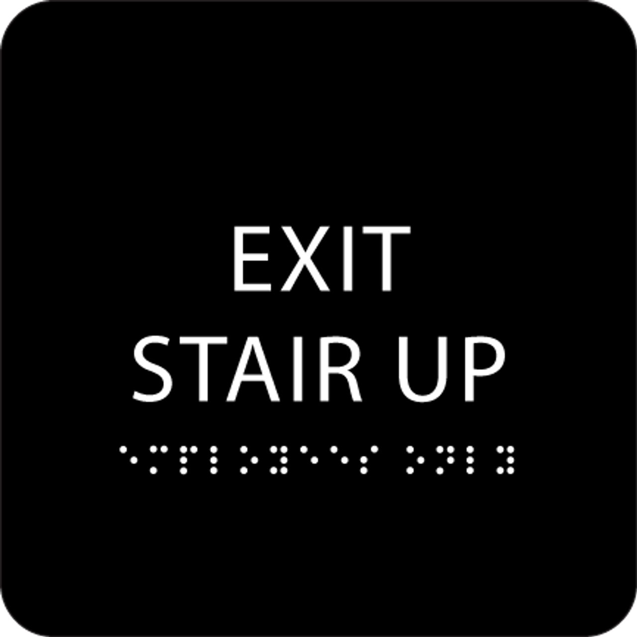 Black Exit Stair Up ADA Sign