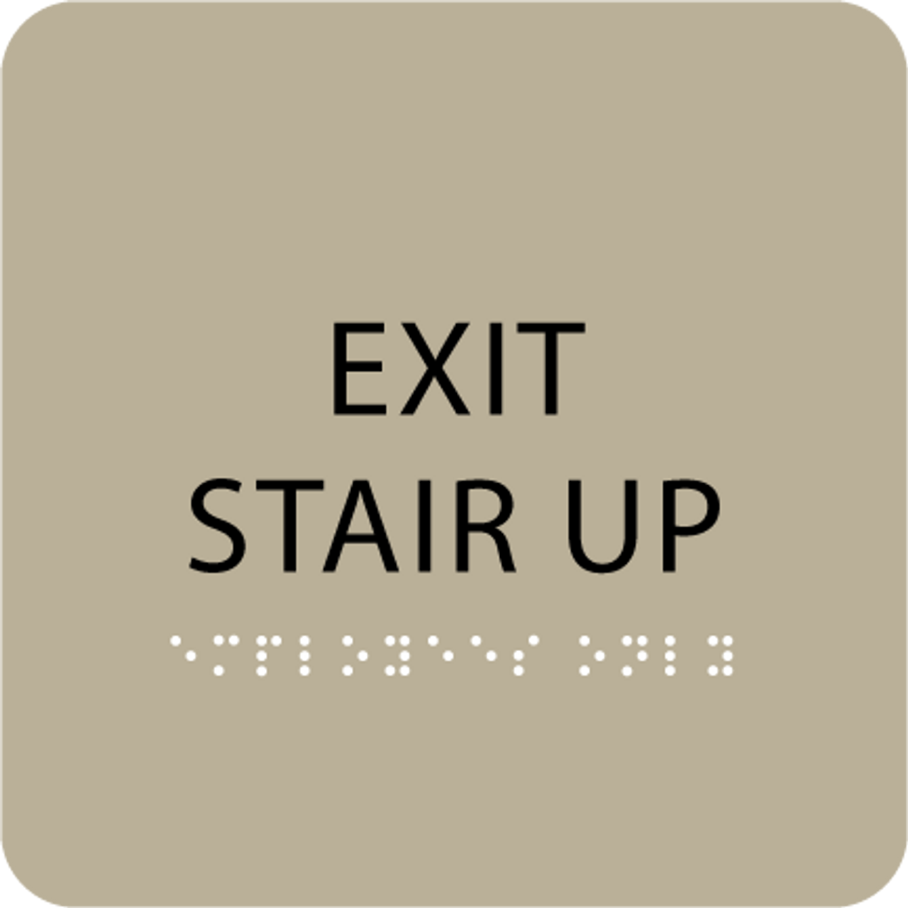 Brown Exit Stair Up Tactile Sign