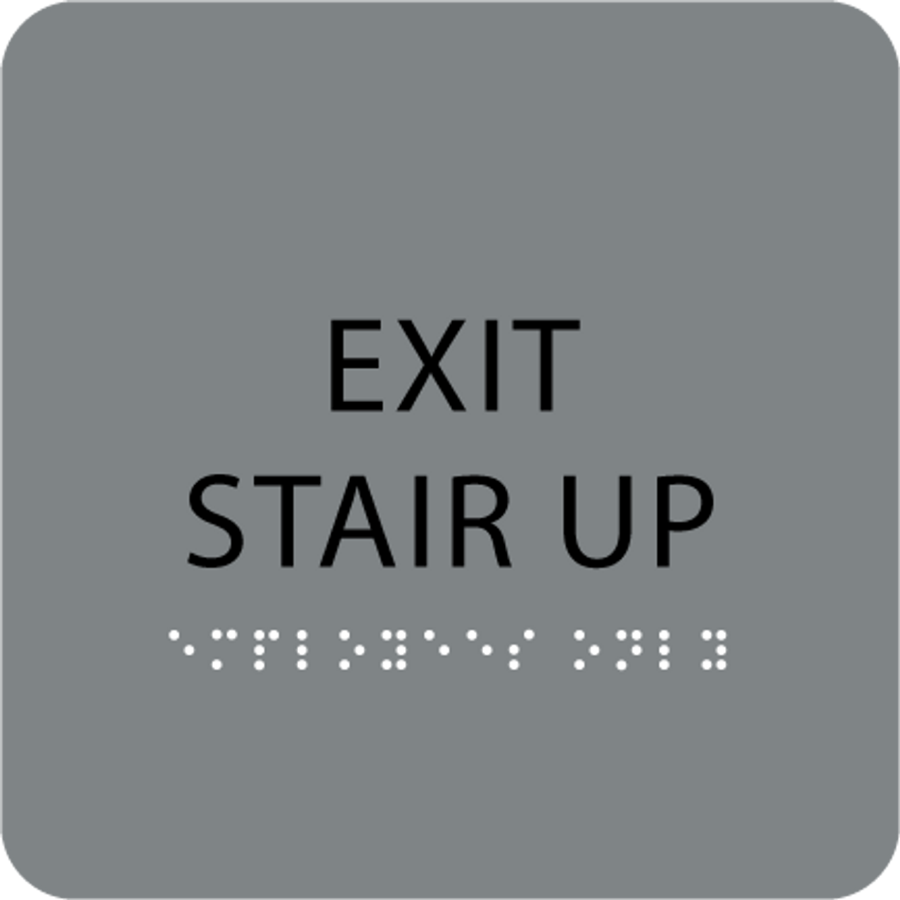 Grey Exit Stair Up Tactile Sign