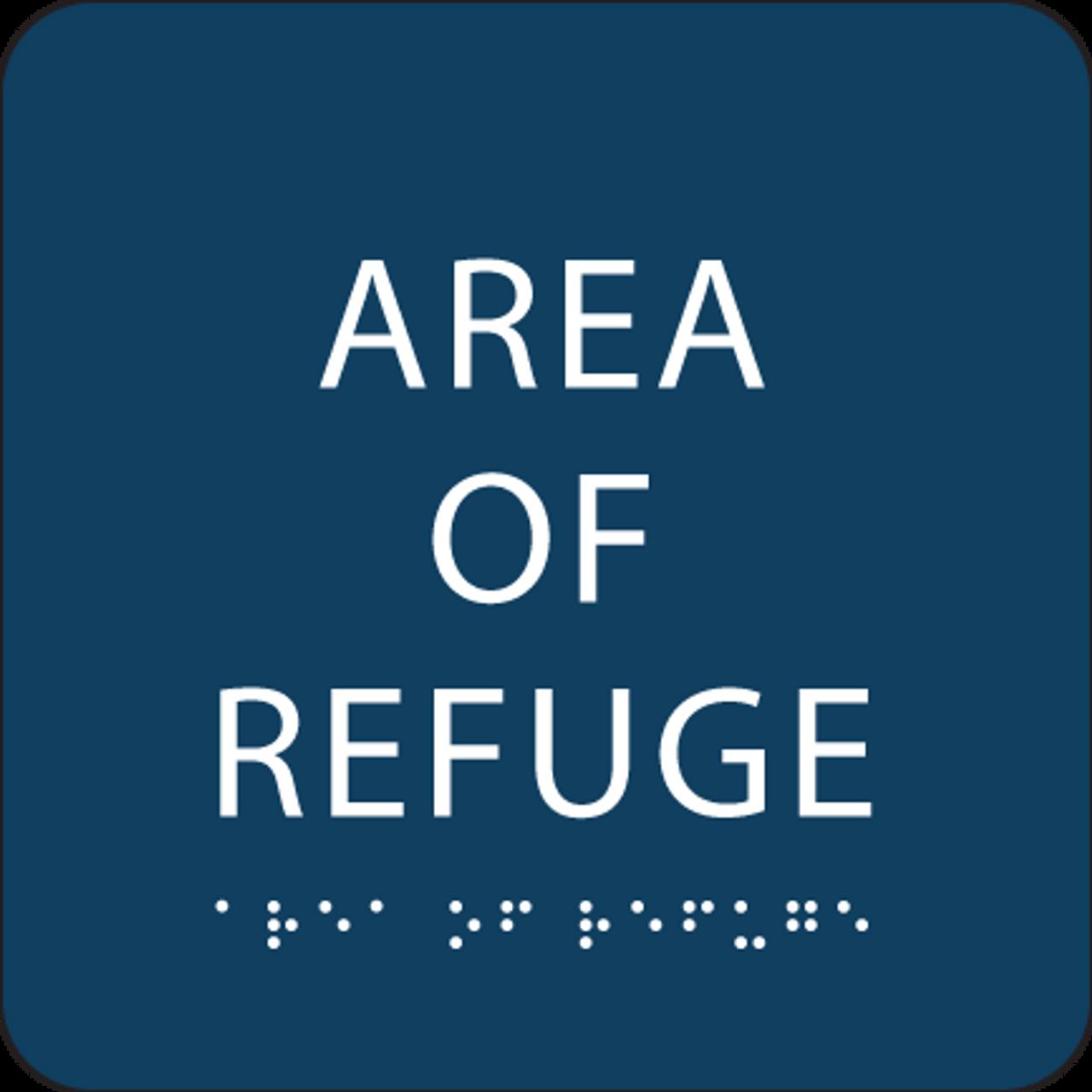 Dark Blue Area of Refuge ADA Sign
