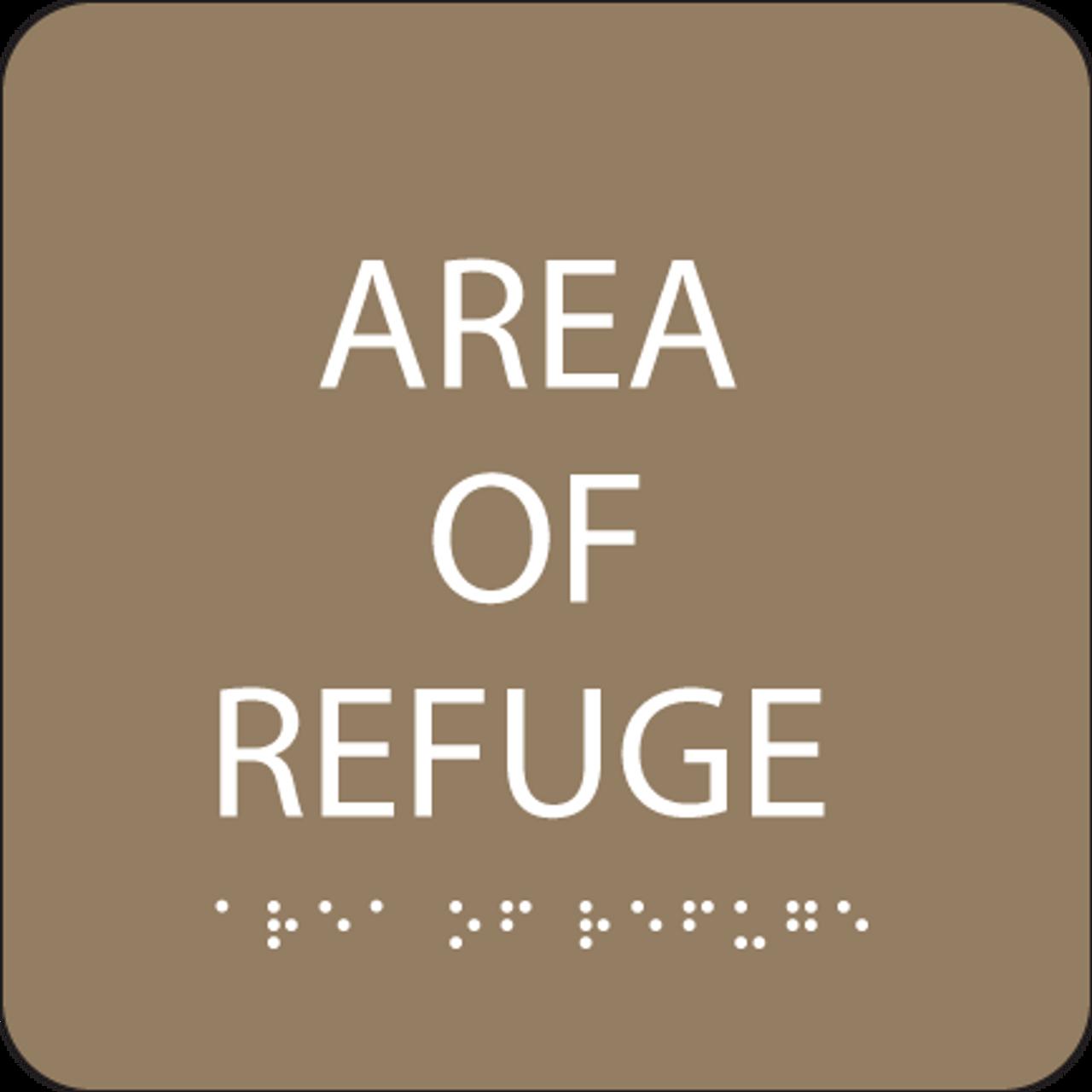Brown Area of Refuge Braille Sign