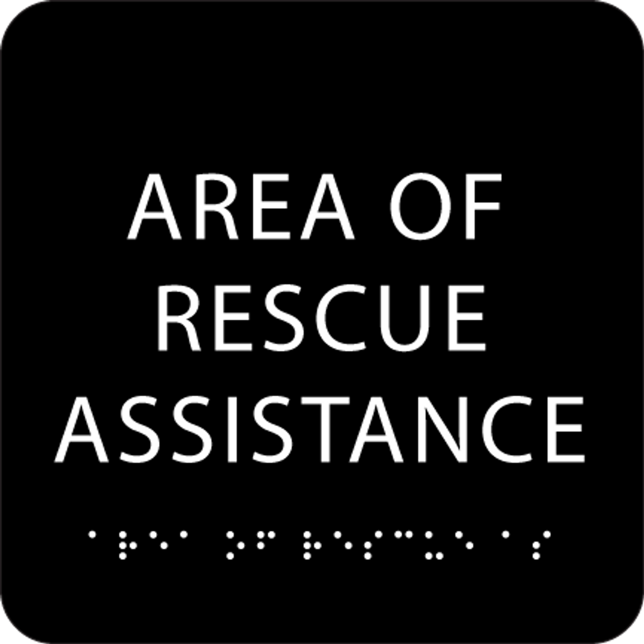 Black Area of Rescue Assistance ADA Sign
