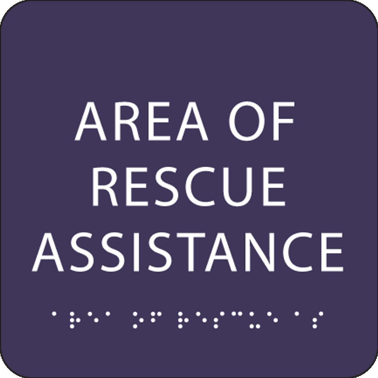 Purple Area of Rescue Assistance ADA Sign