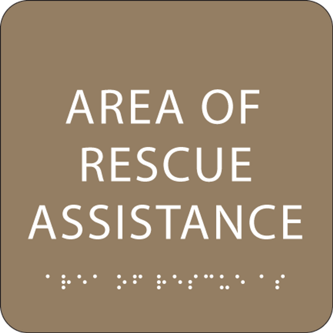 Brown Area of Rescue Assistance ADA Sign