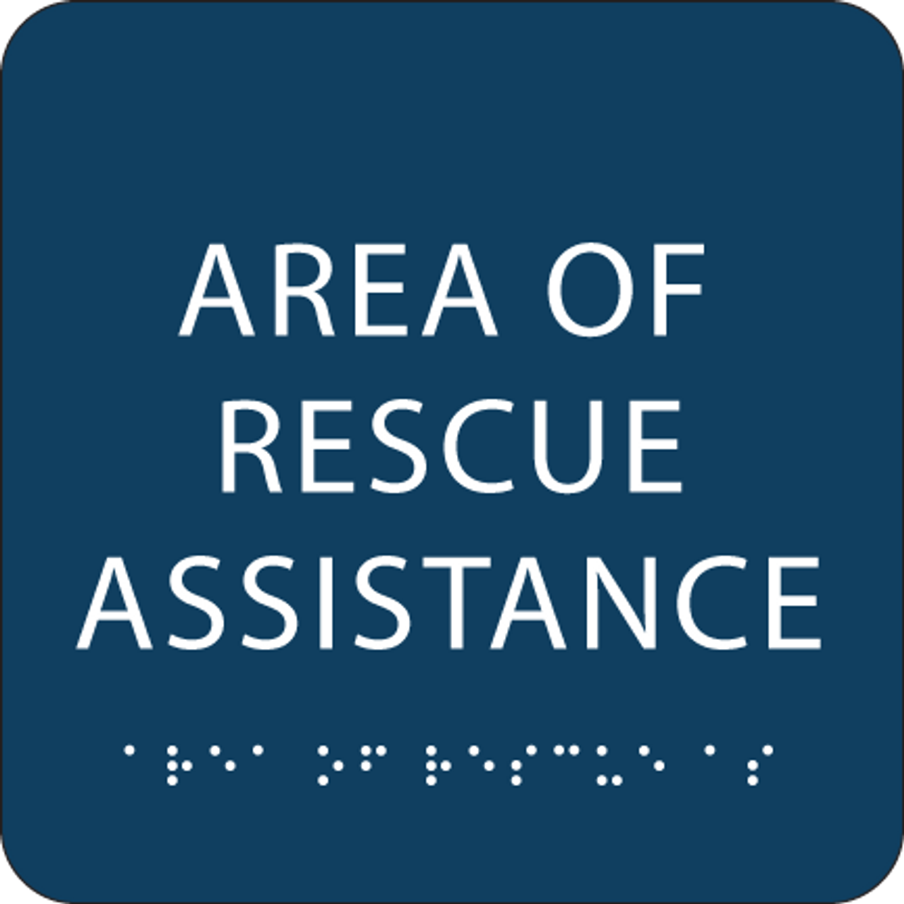 Dark Blue Area of Rescue Assistance ADA Sign