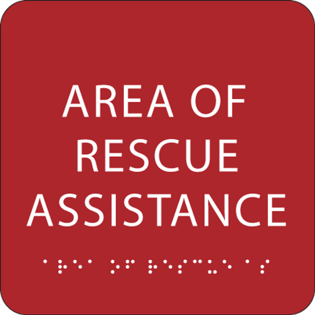 Red Area of Rescue Assistance ADA Sign