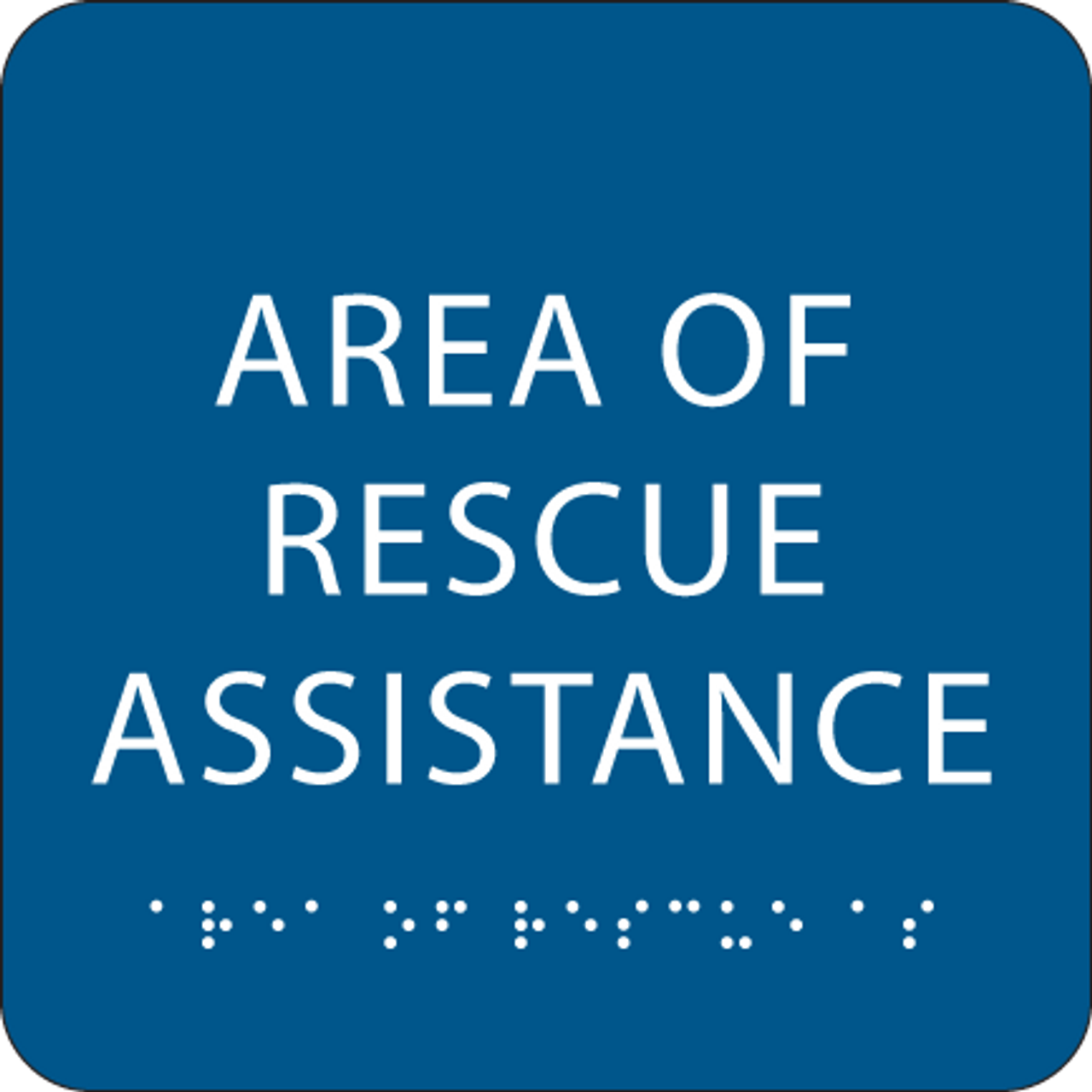 Blue Area of Rescue Assistance ADA Sign