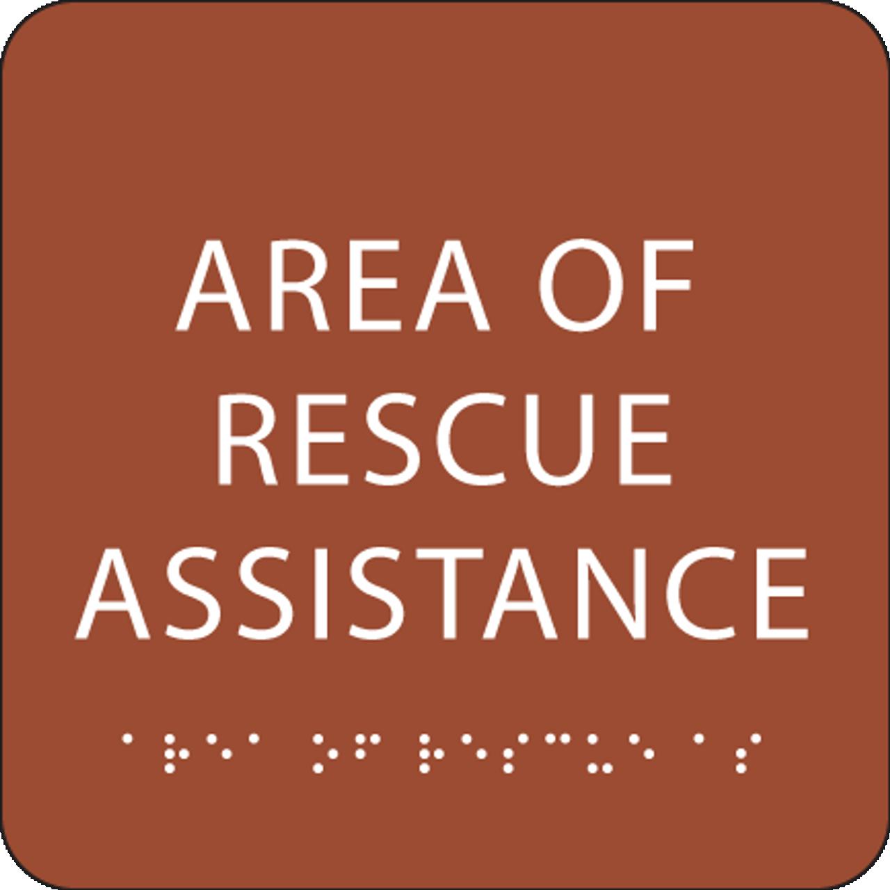 Orange Area of Rescue Assistance ADA Sign
