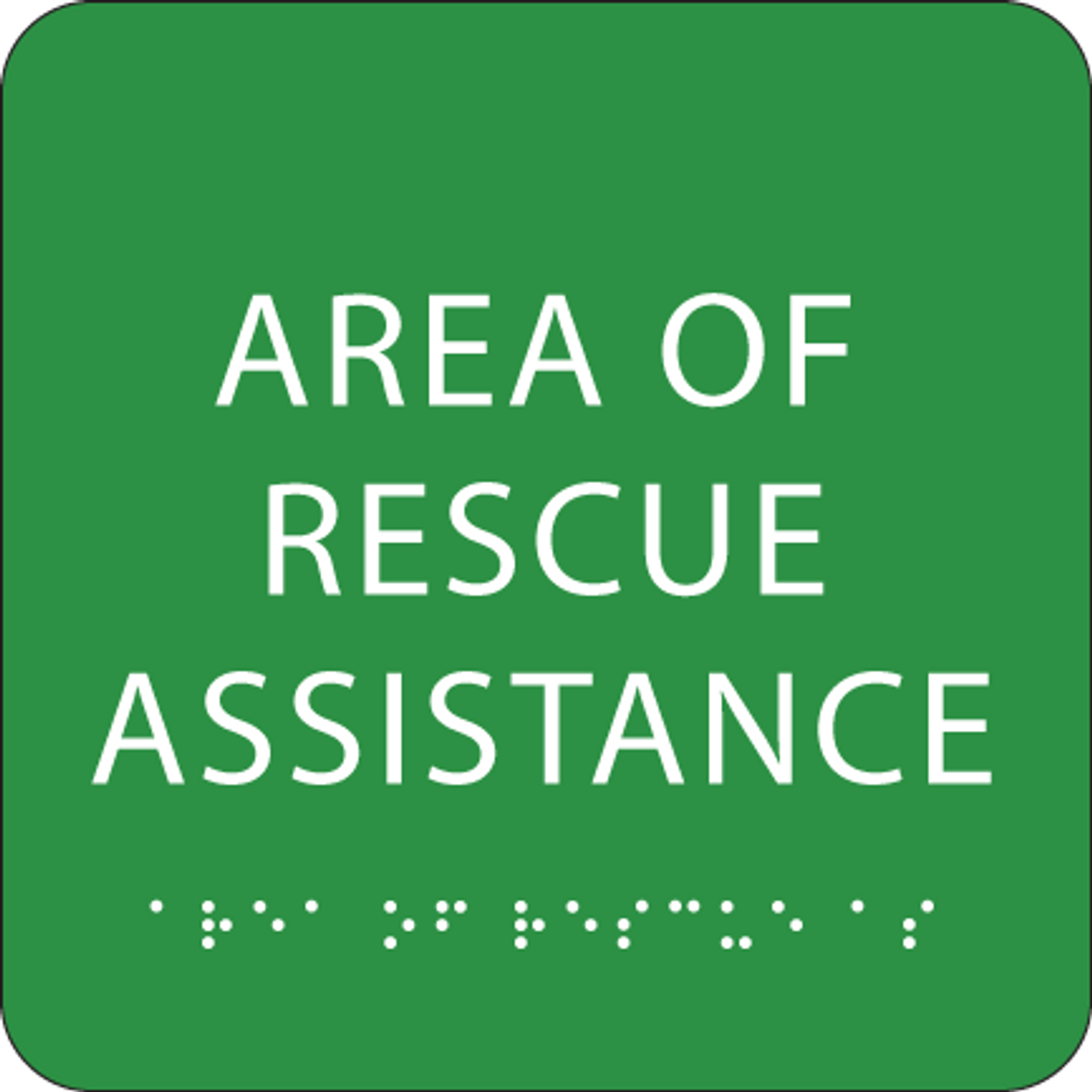 Green Area of Rescue Assistance Tactile Sign
