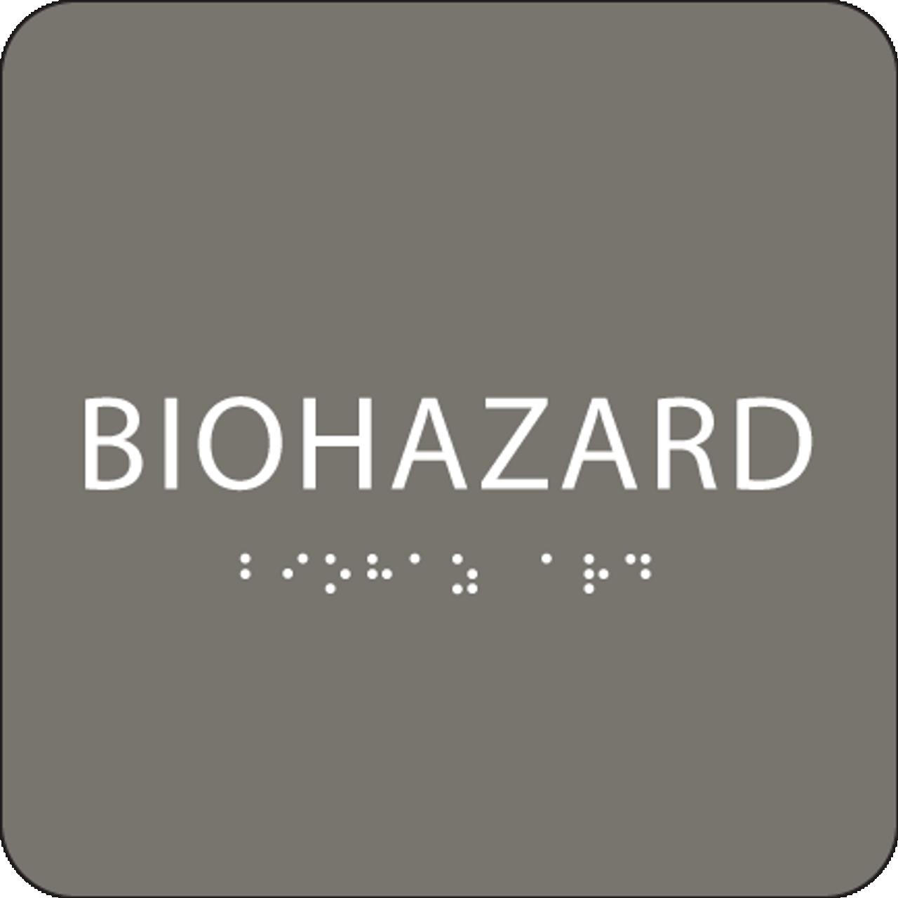 Dark Grey Biohazard ADA Sign