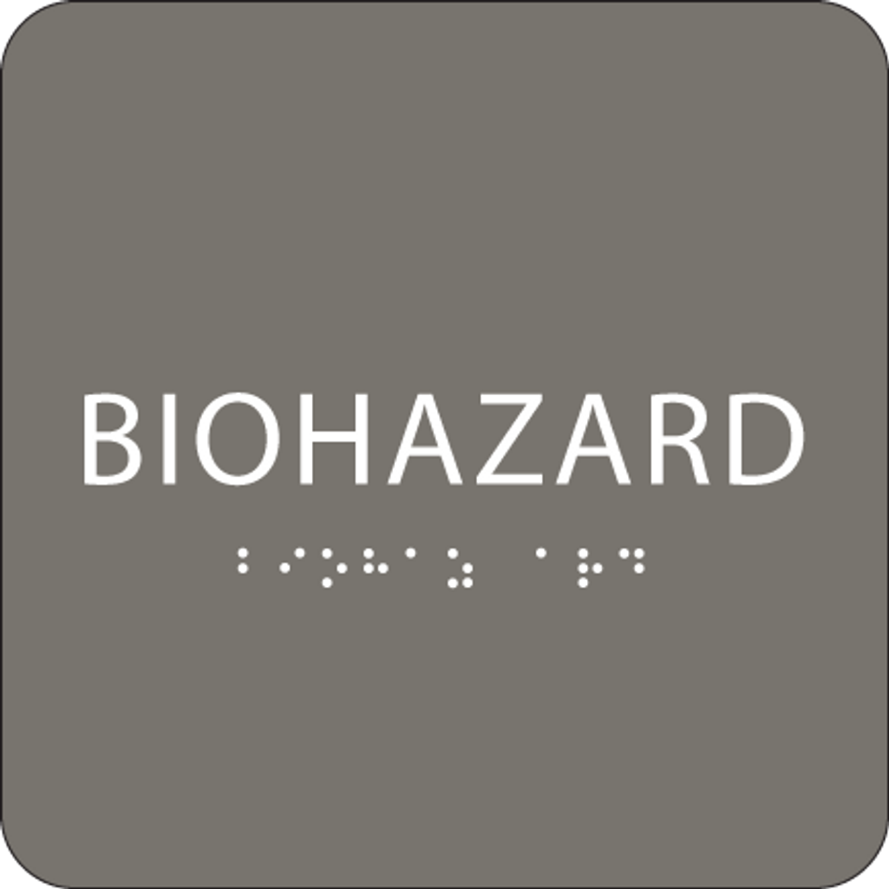 Dark Grey Biohazard ADA Sign