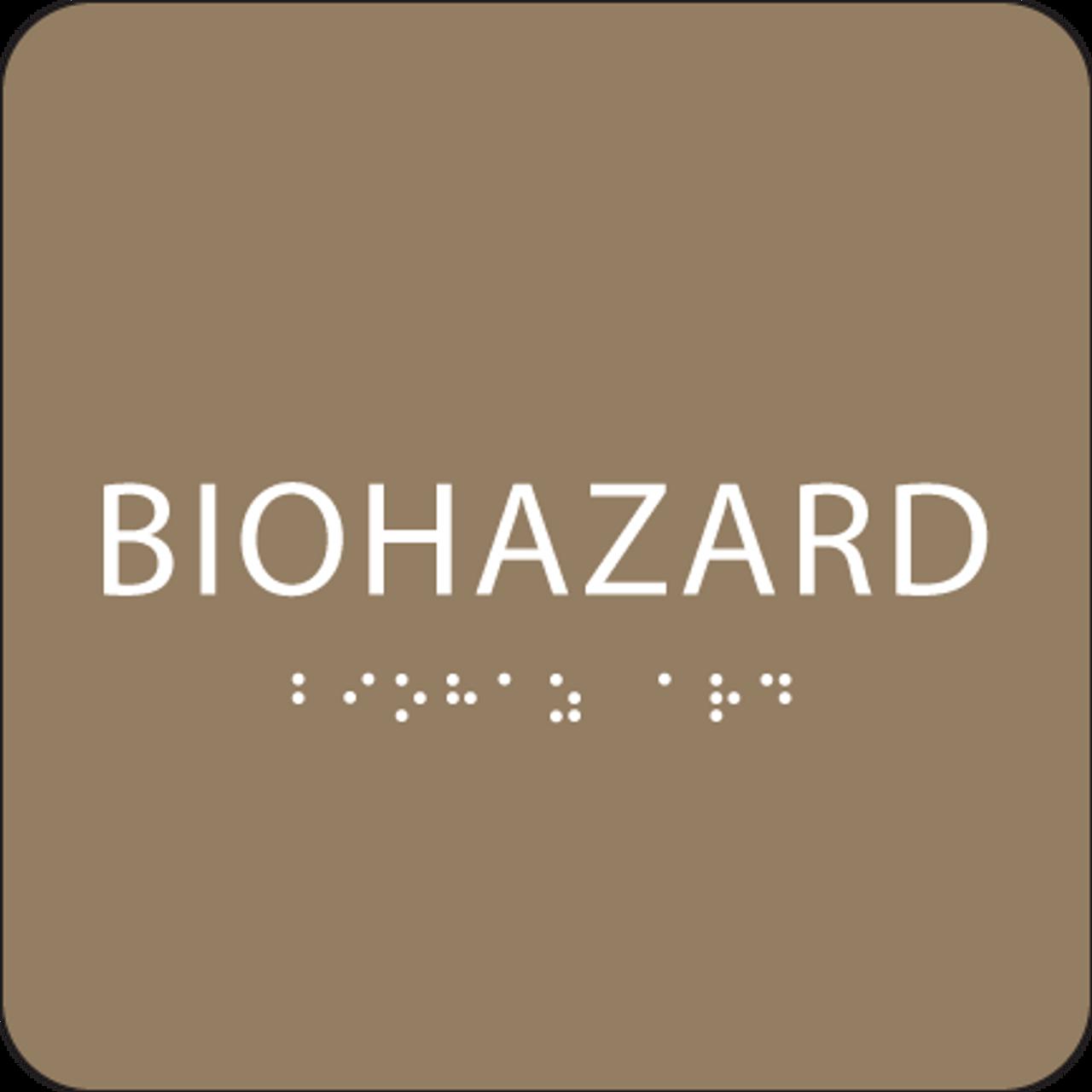 Brown Biohazard ADA Sign