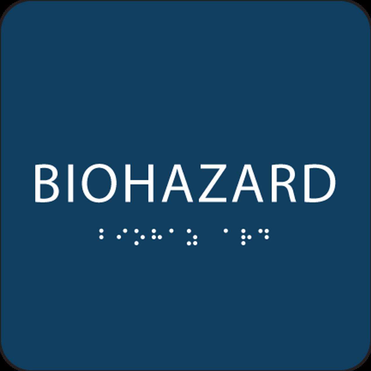 Dark Blue Biohazard ADA Sign