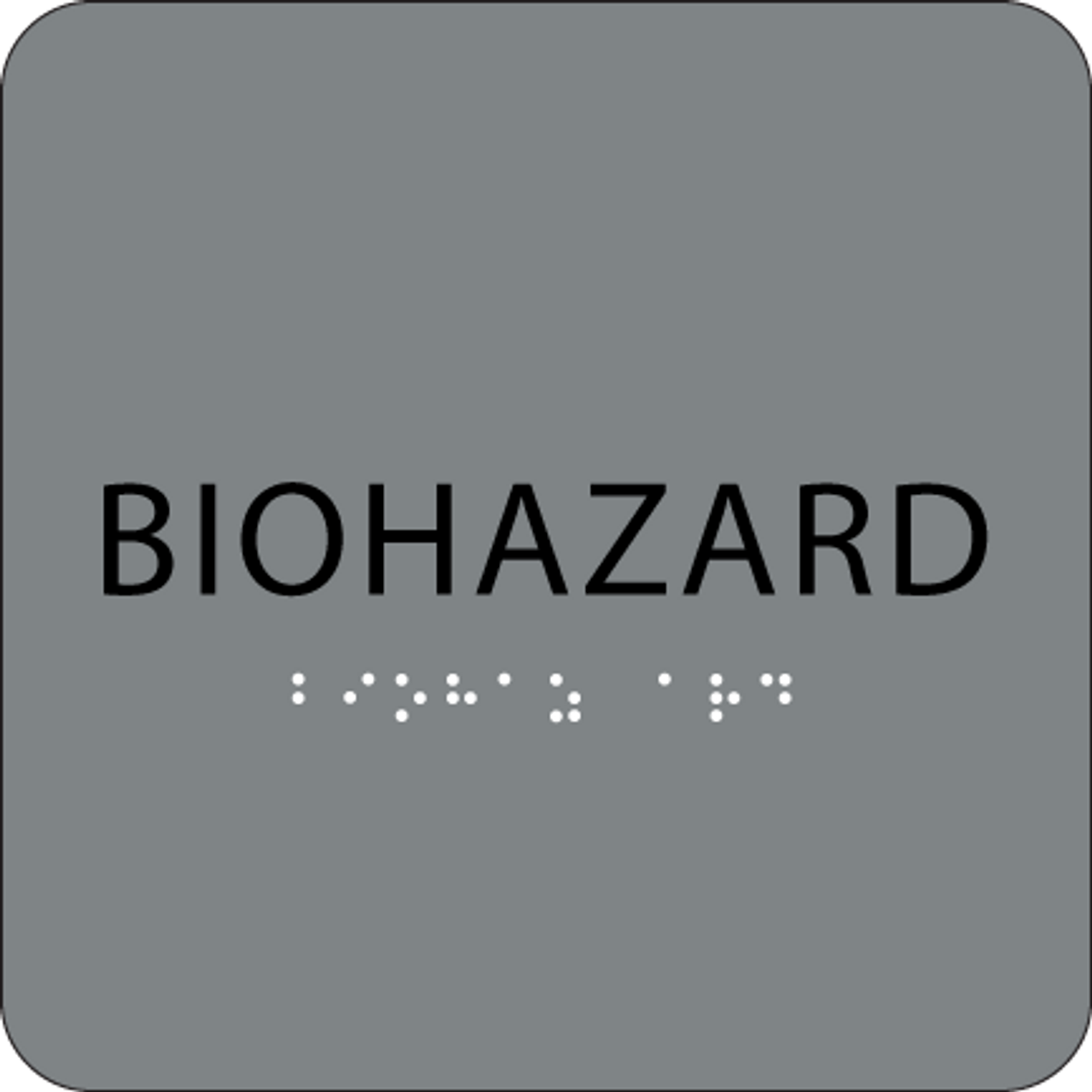 Grey Biohazard ADA Sign