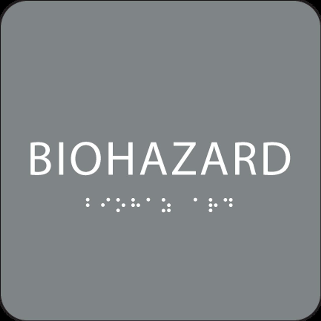 Grey Biohazard Braille Sign