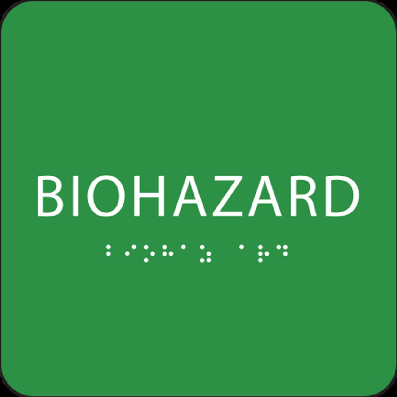 Green Biohazard Braille Sign
