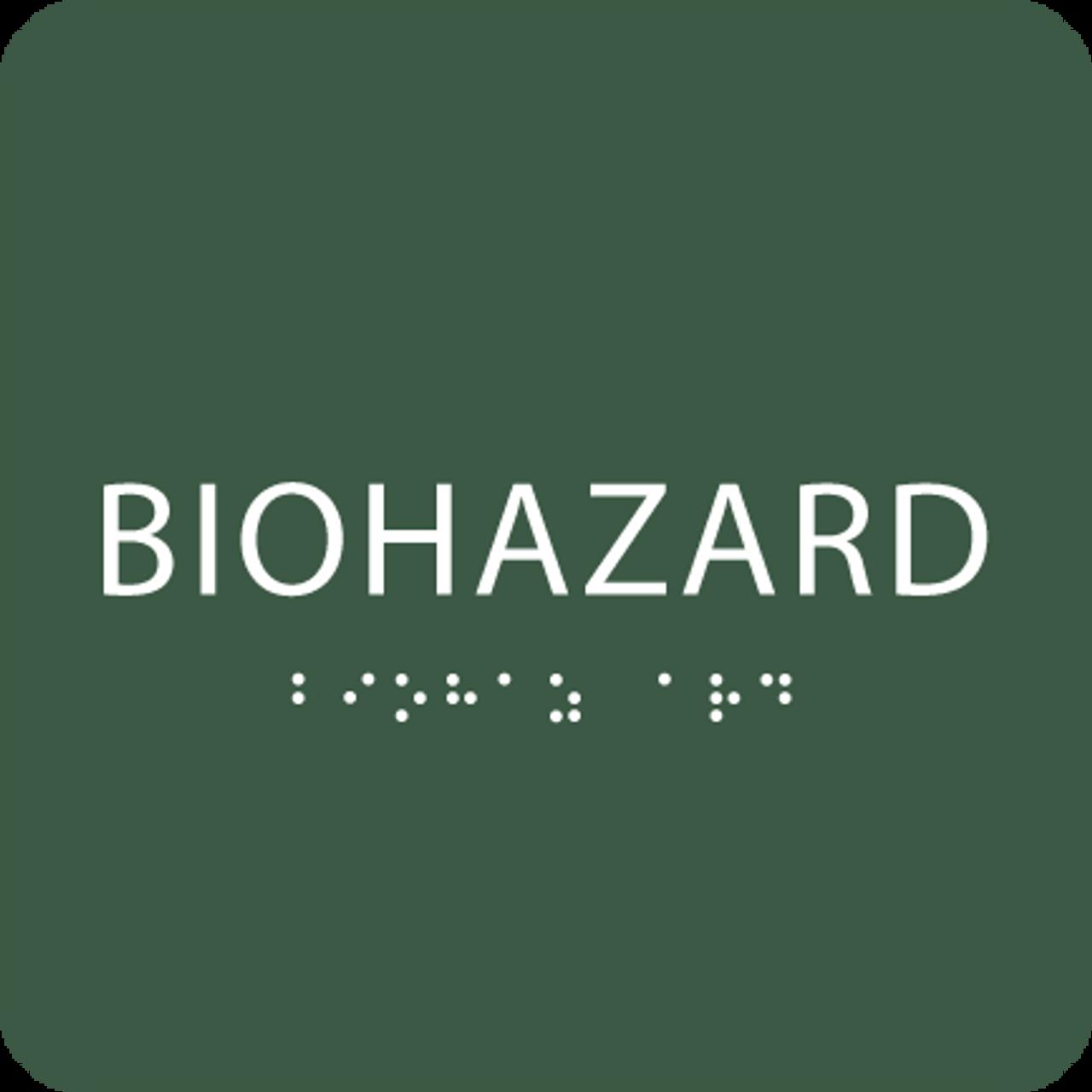 Green Biohazard Tactile Sign