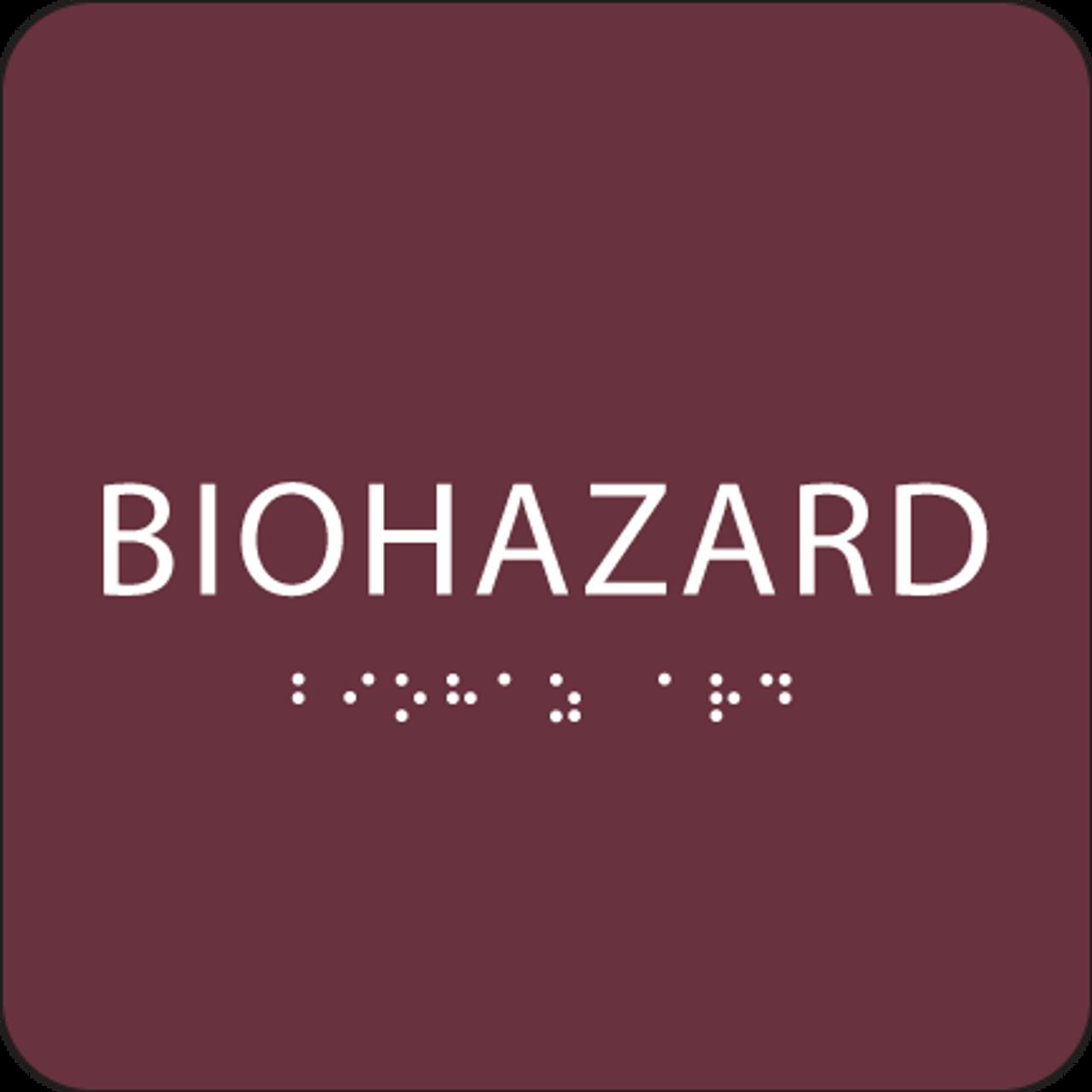 Burgundy Biohazard ADA Sign