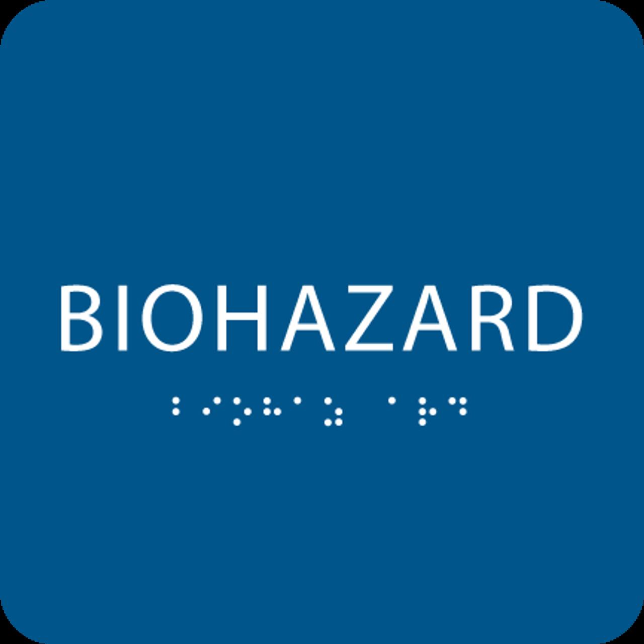 Blue Biohazard ADA Sign