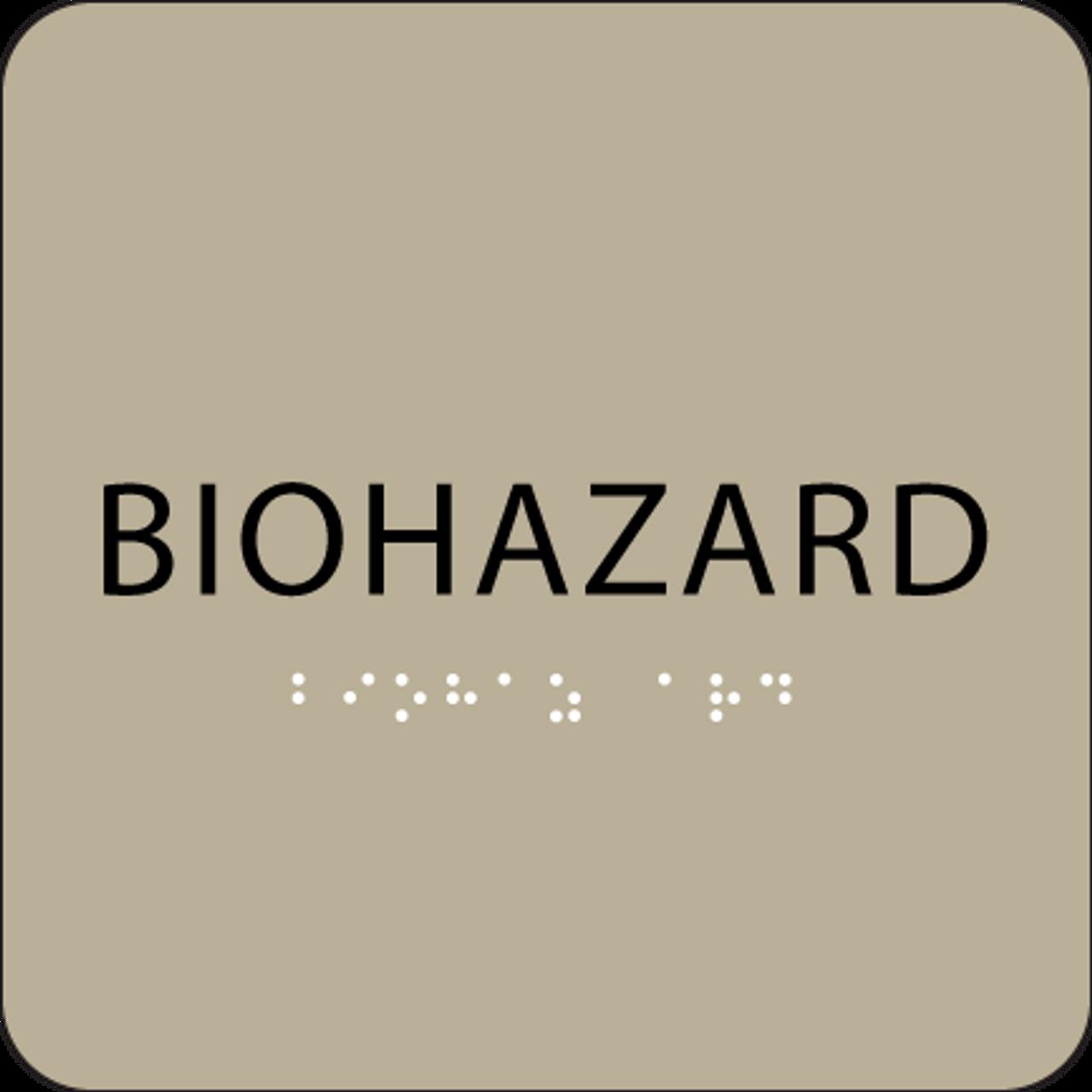 Brown Biohazard BrailleADA Sign