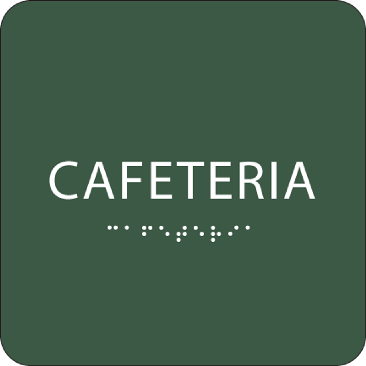 Green Cafeteria Braille Sign