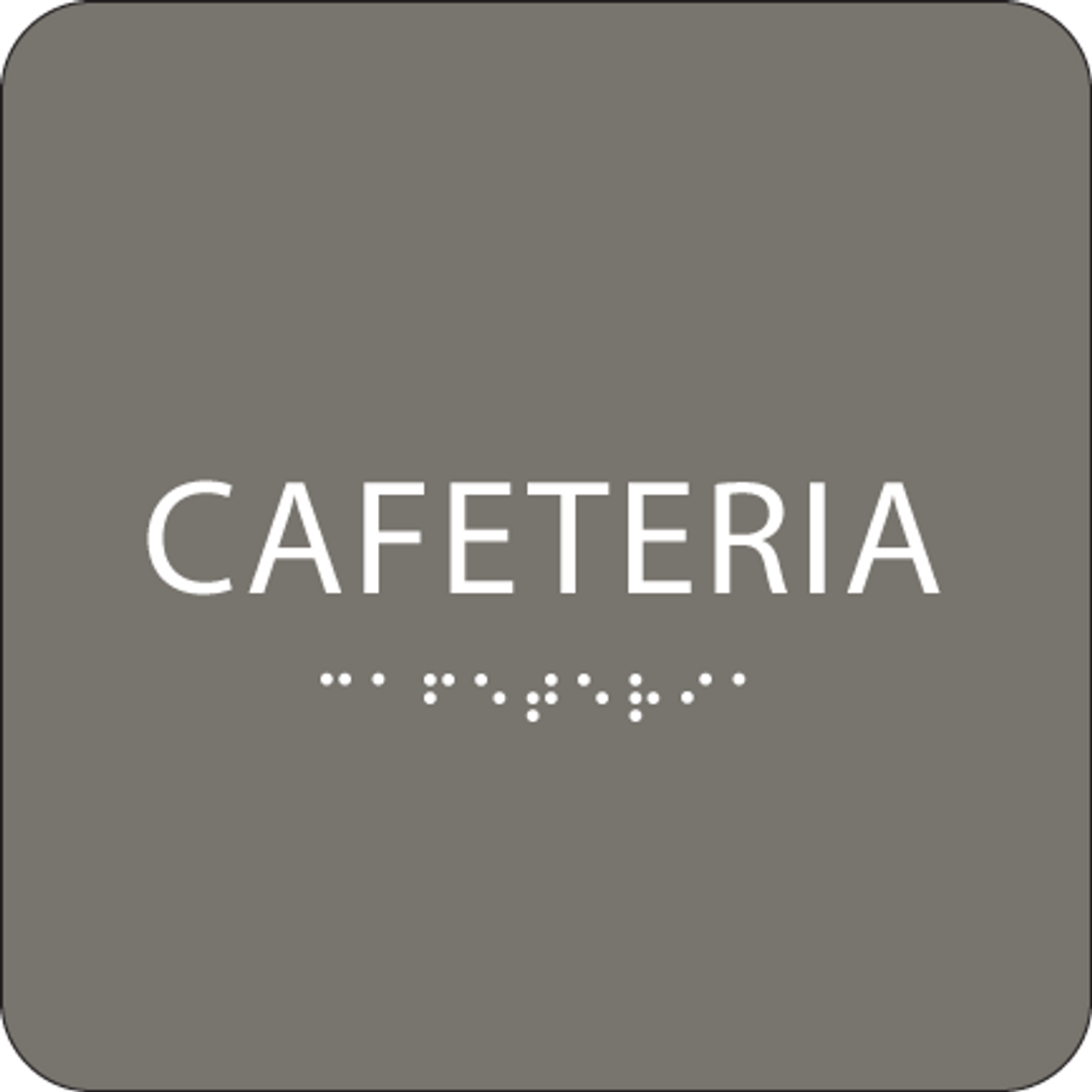 Dark Grey Cafeteria ADA Sign