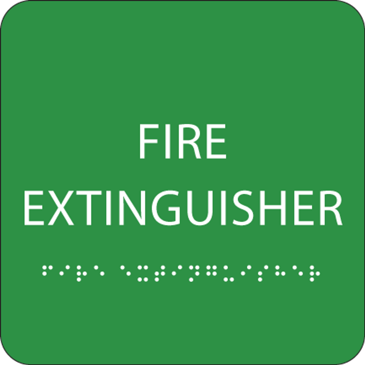 Green Fire Extinguisher Tactile Sign