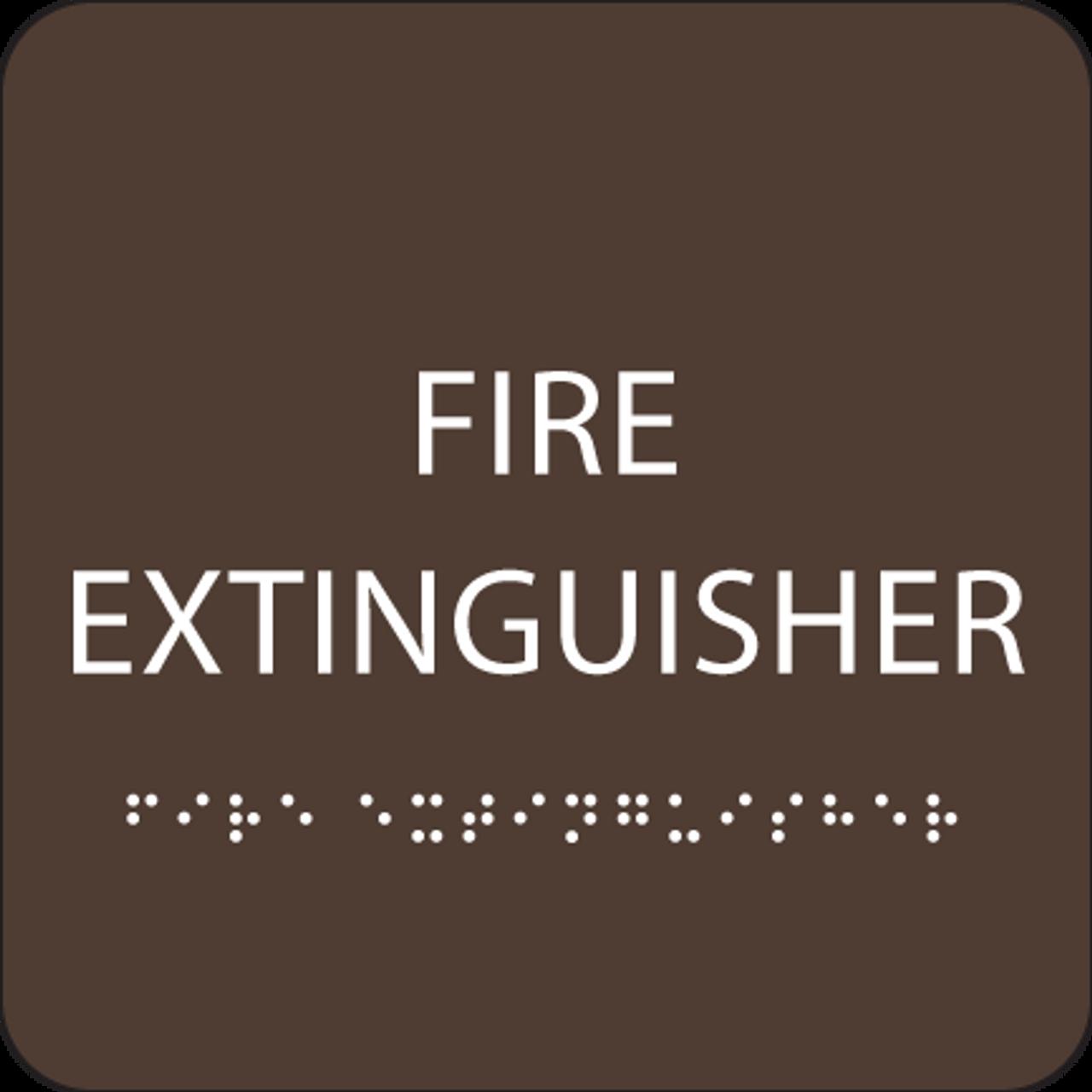 Dark Brown Fire Extinguisher ADA Sign