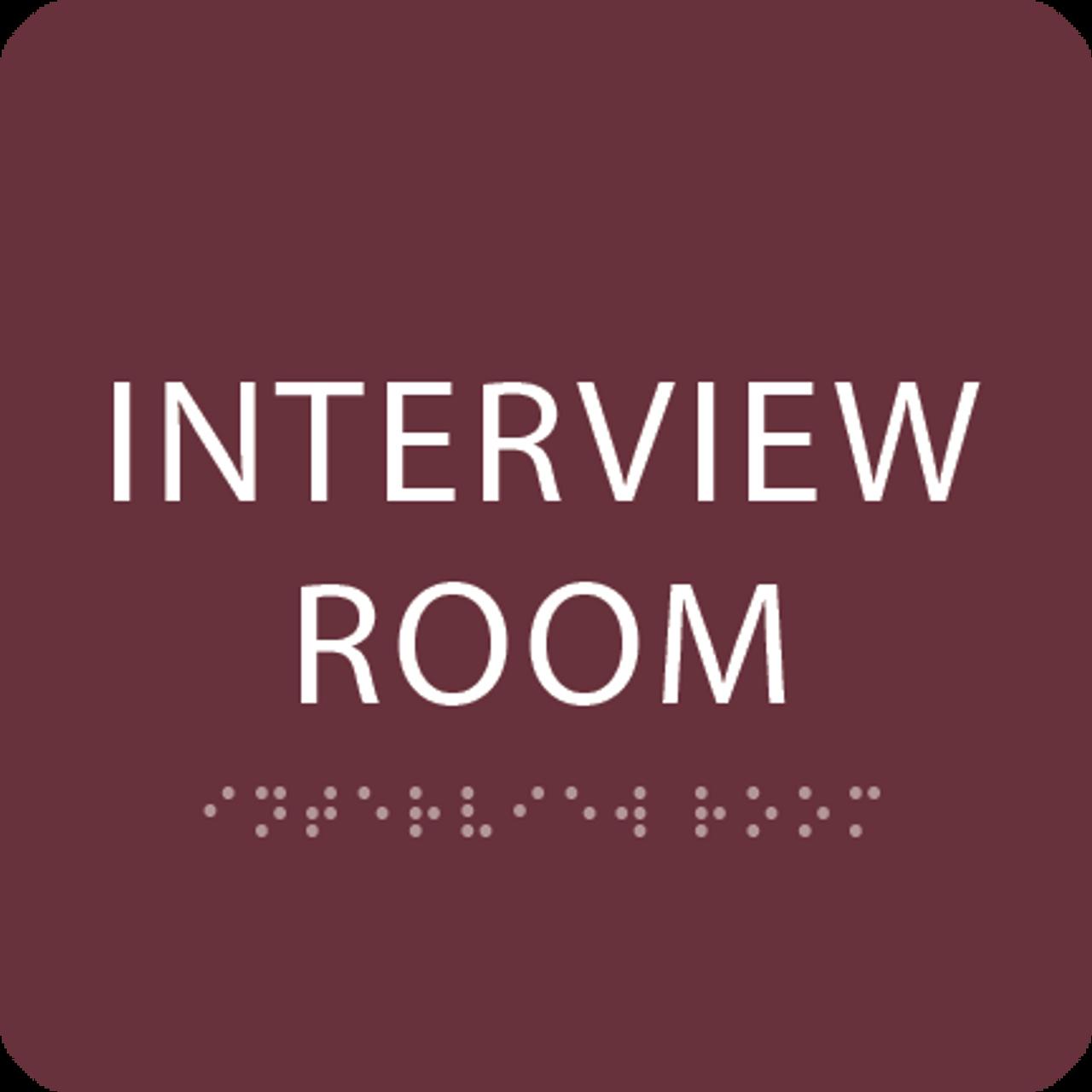 Burgundy Interview Room ADA Sign